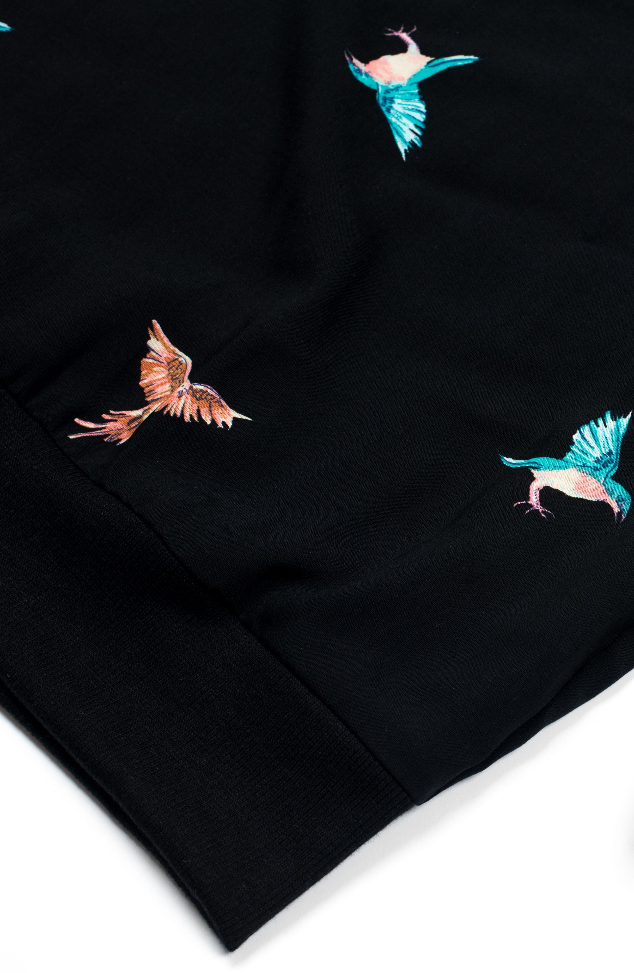 Summer Bird Woven Shirt,                             Alternate thumbnail 3, color,                             Black/ Multi