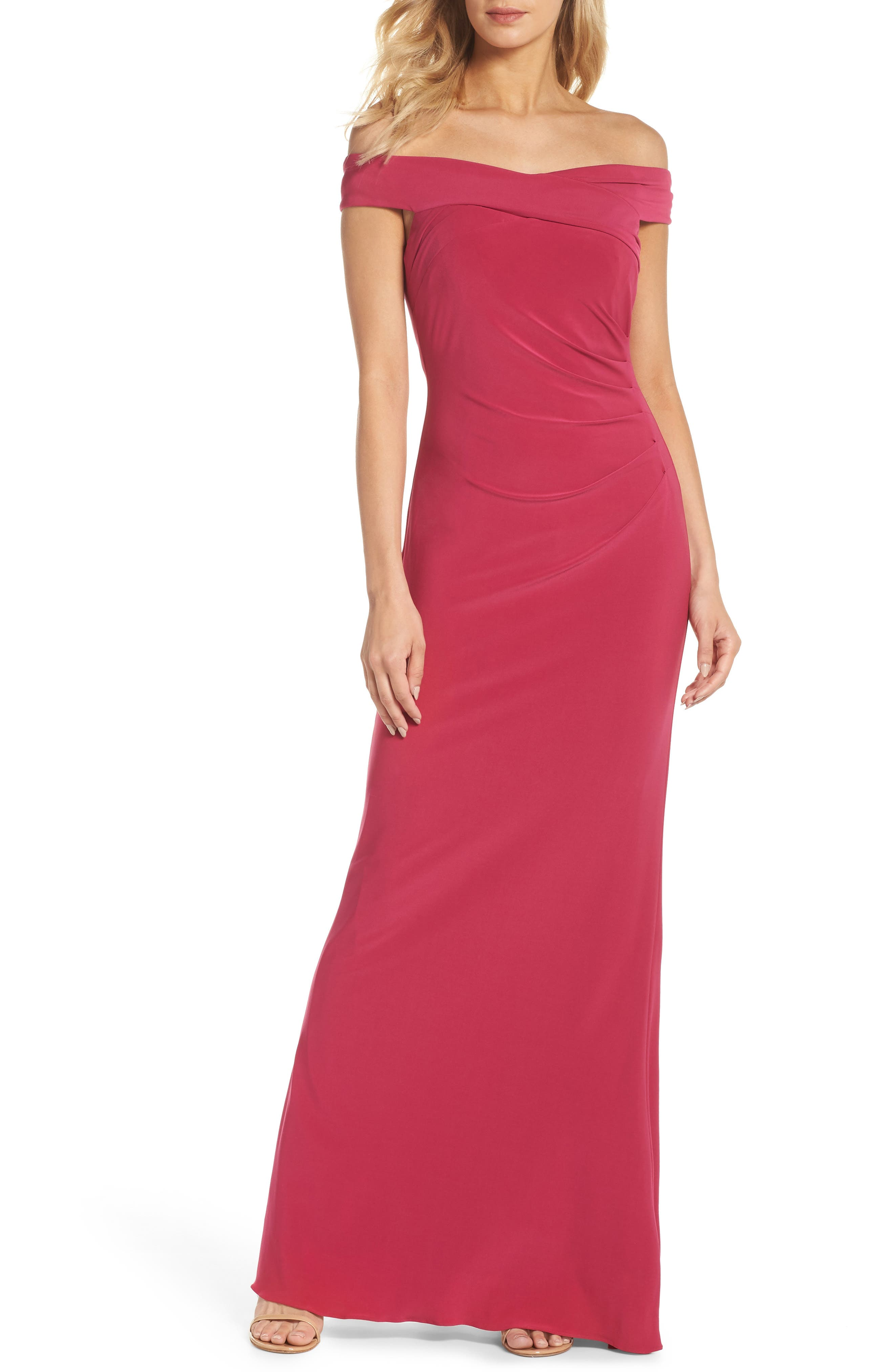 Adrianna Papell Off the Shoulder Jersey Gown (Regular & Petite)