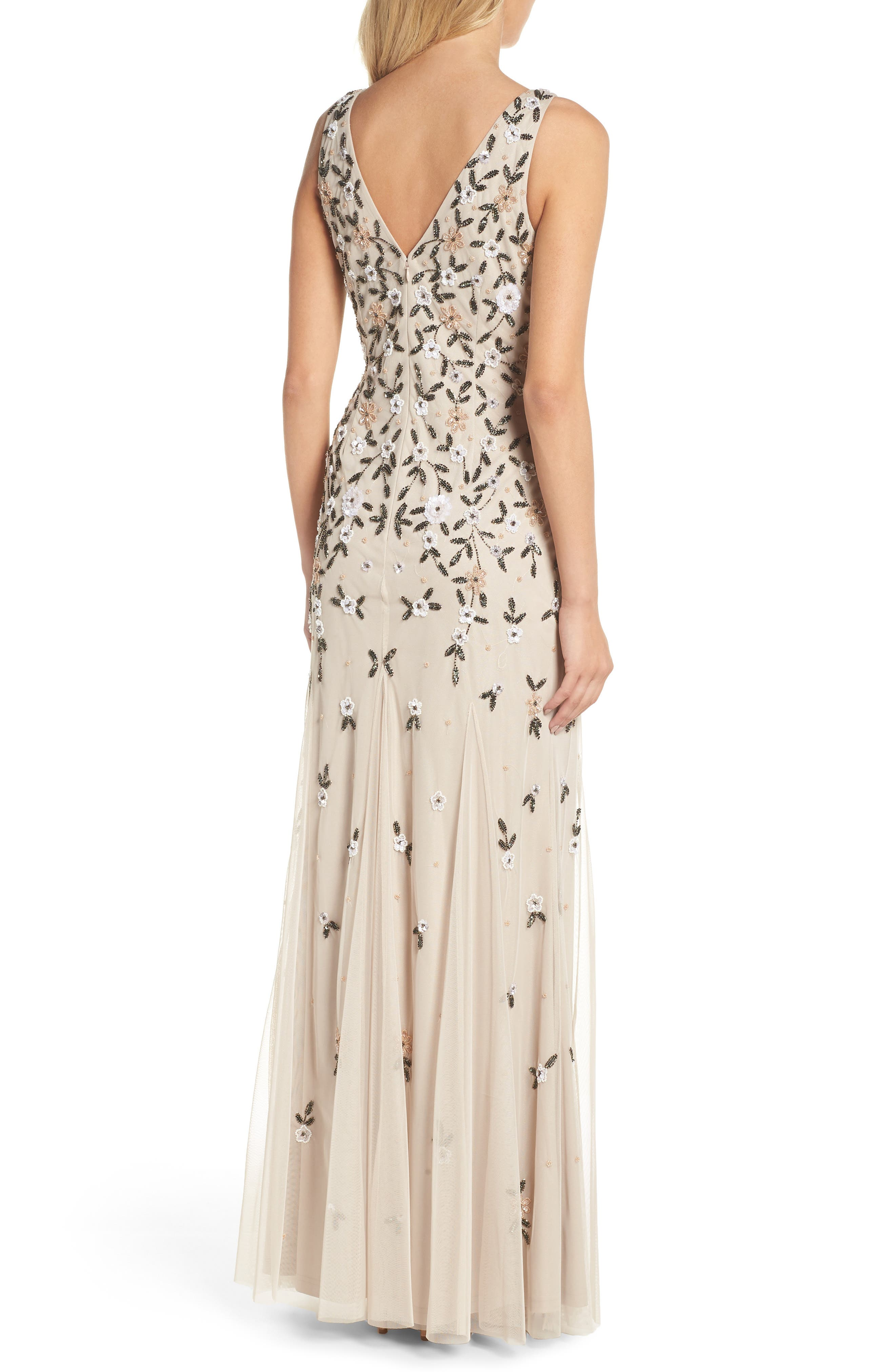 Beaded Floral Trumpet Gown,                             Alternate thumbnail 2, color,                             Biscotti