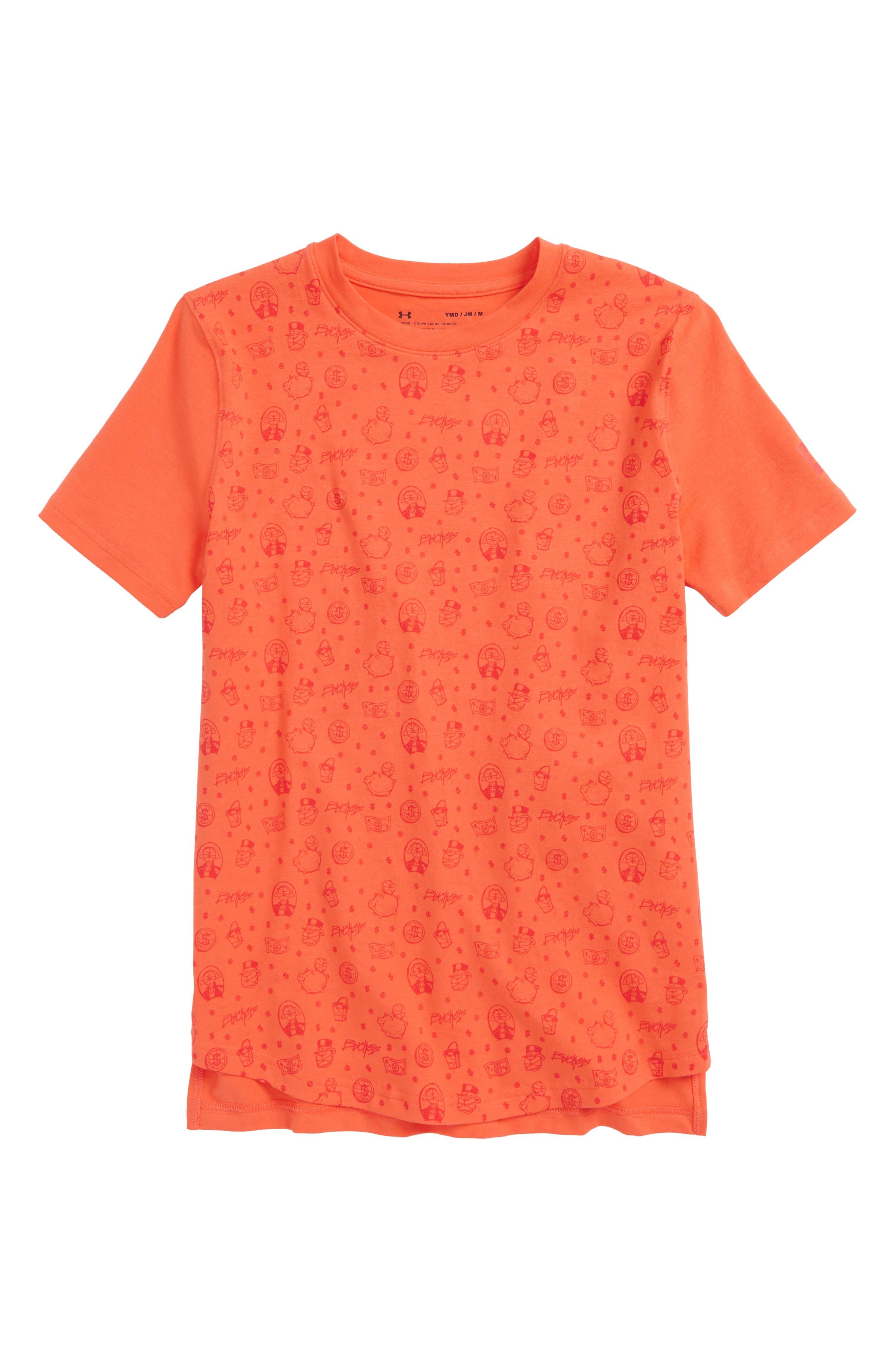 Baseline HeatGear<sup>®</sup> T-Shirt,                         Main,                         color, Neon Coral/ Dandelion