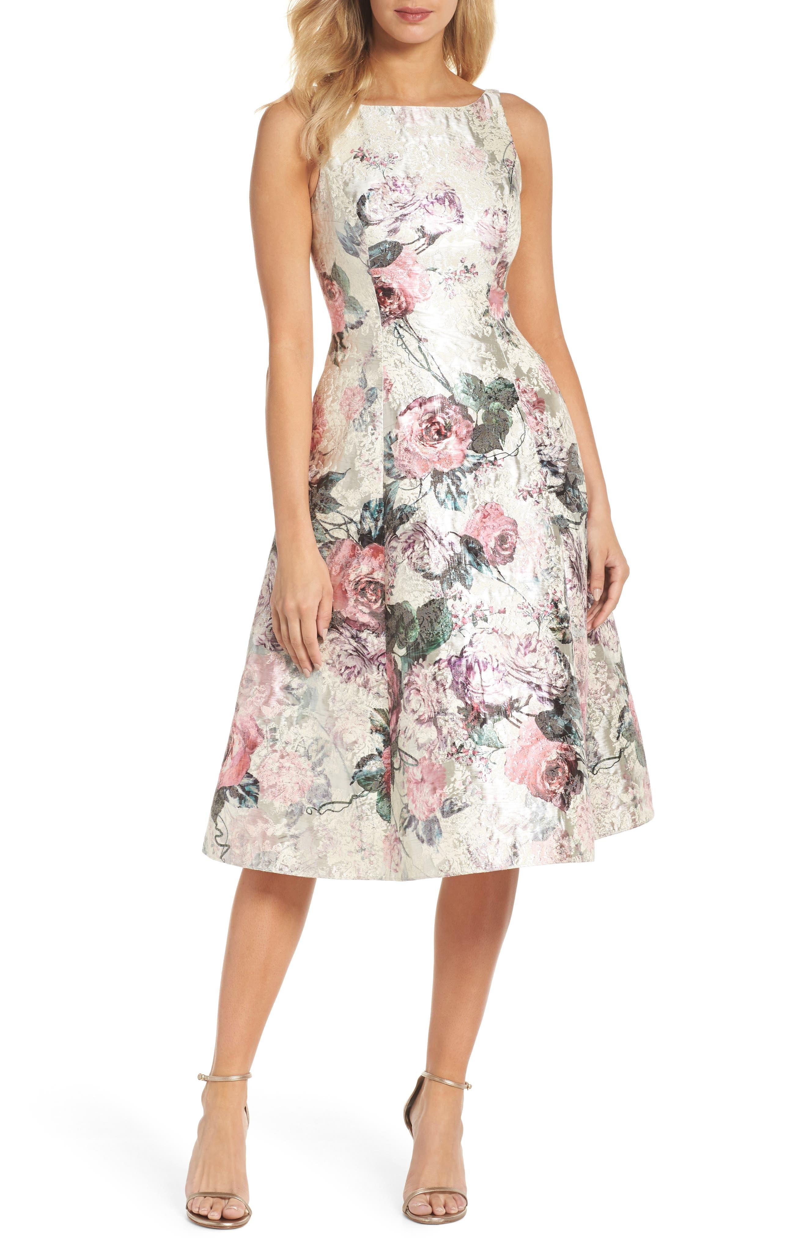Adrianna Papell Print Jacquard Tea-Length Dress