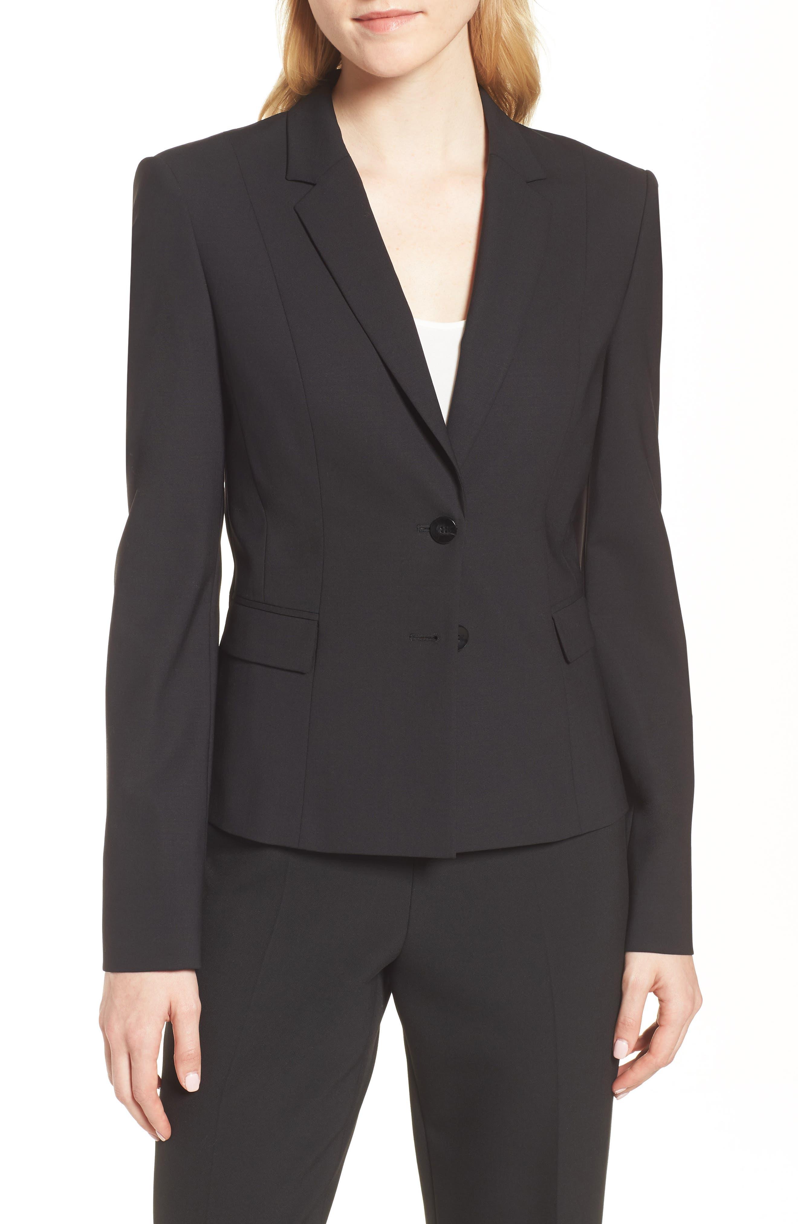 Jaru Stretch Wool Suit Jacket,                             Main thumbnail 1, color,                             Black
