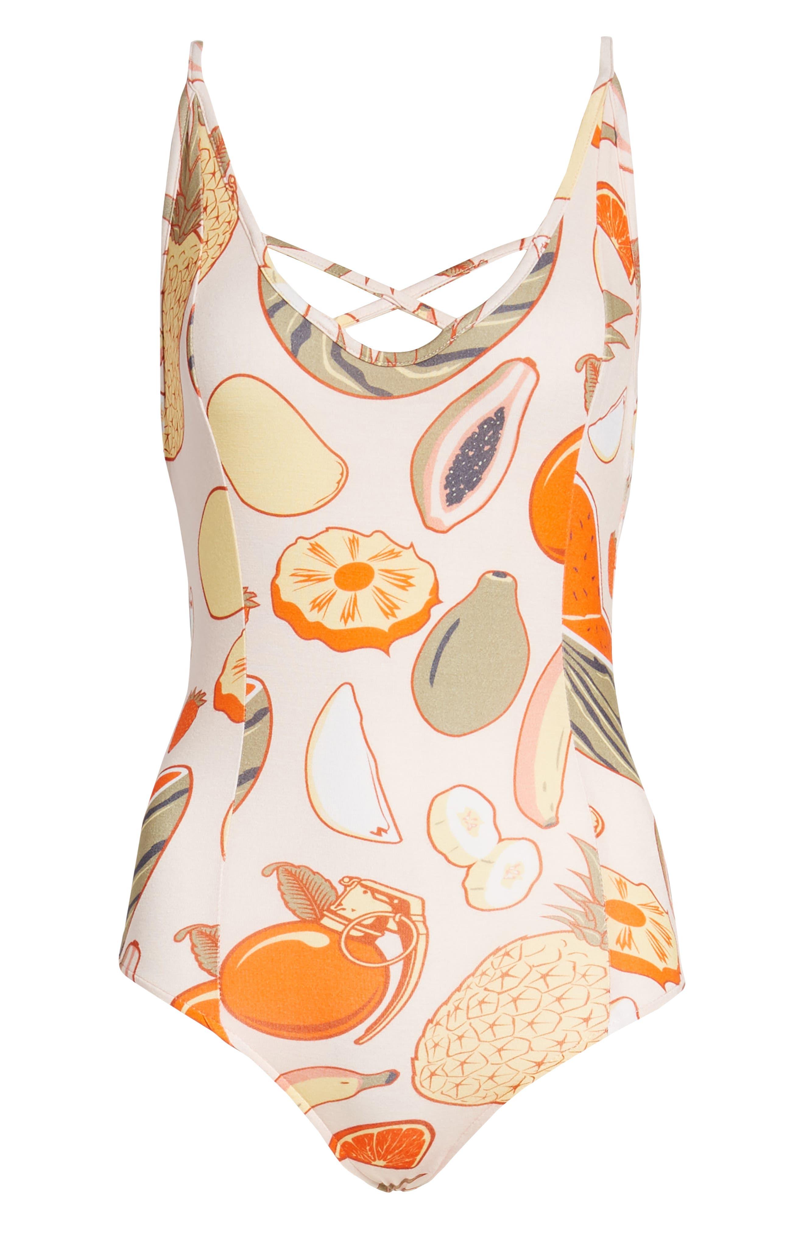 Songbird Bodysuit,                             Alternate thumbnail 6, color,                             Tender Peach Multi