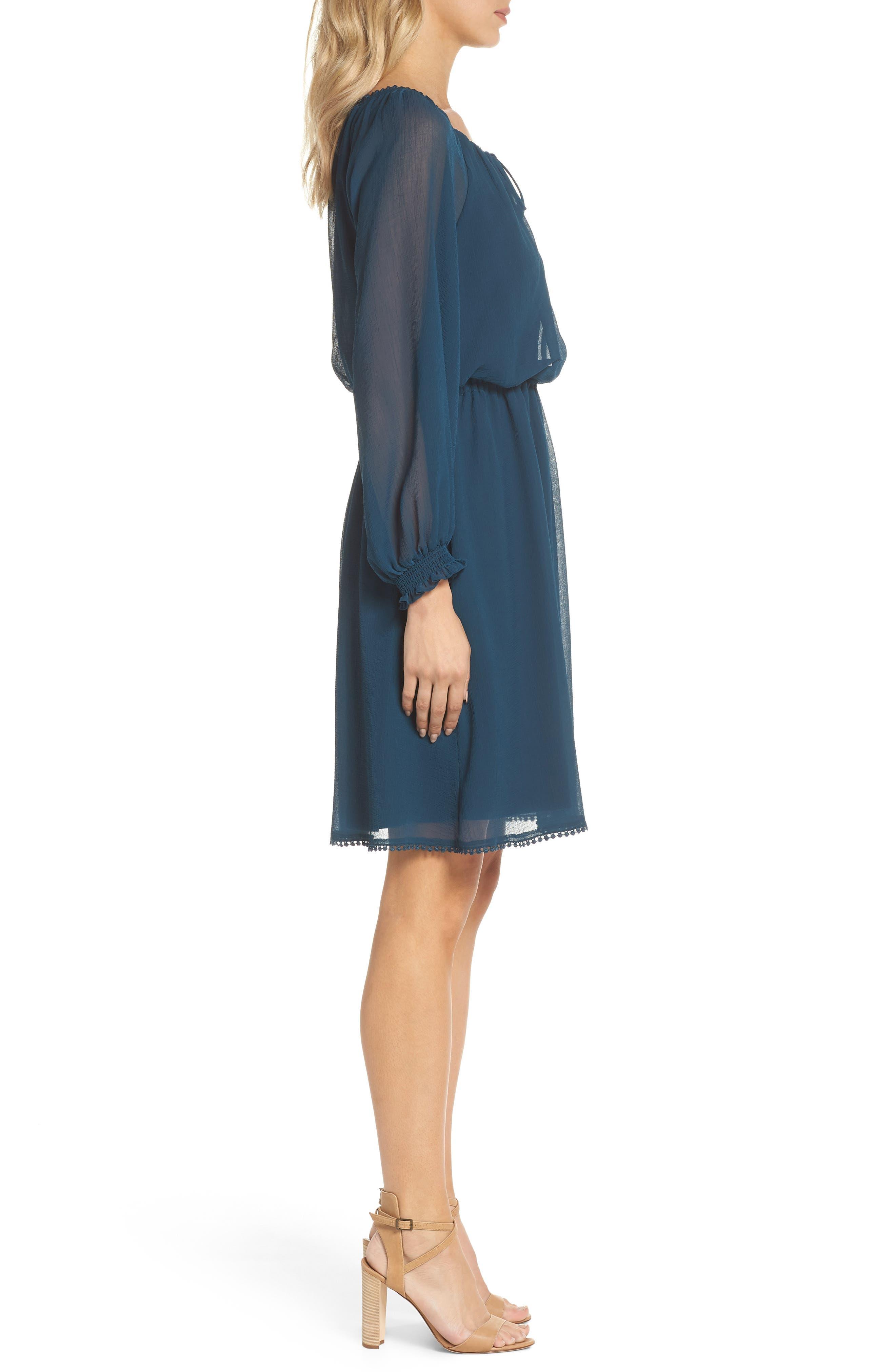 Bishop Sleeve Blouson Dress,                             Alternate thumbnail 3, color,                             Midnight Jungle