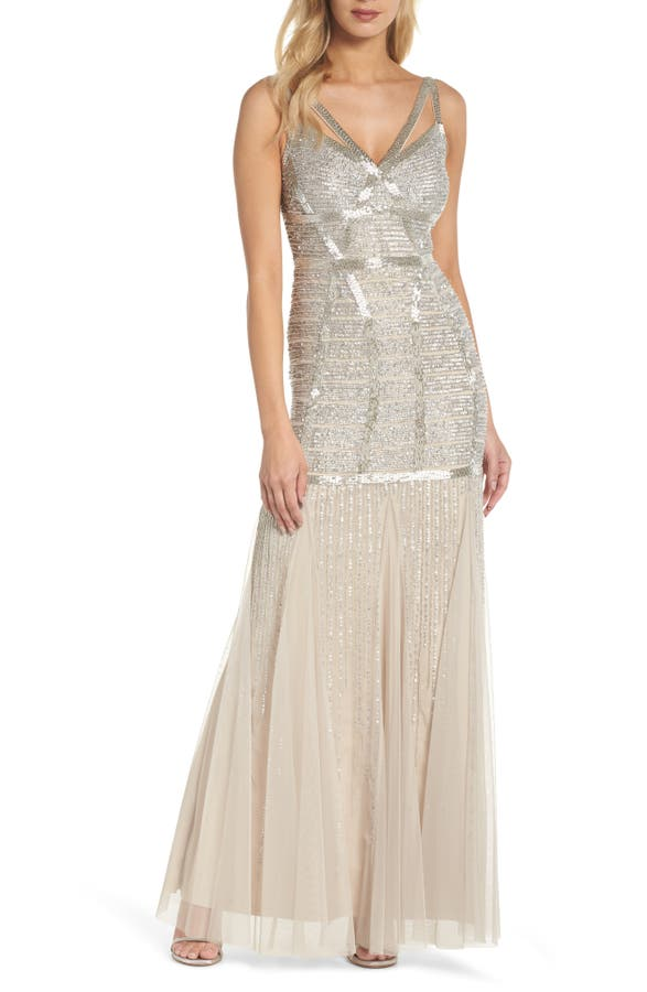 Adrianna Papell Beaded Sleeveless Mermaid Gown | Nordstrom