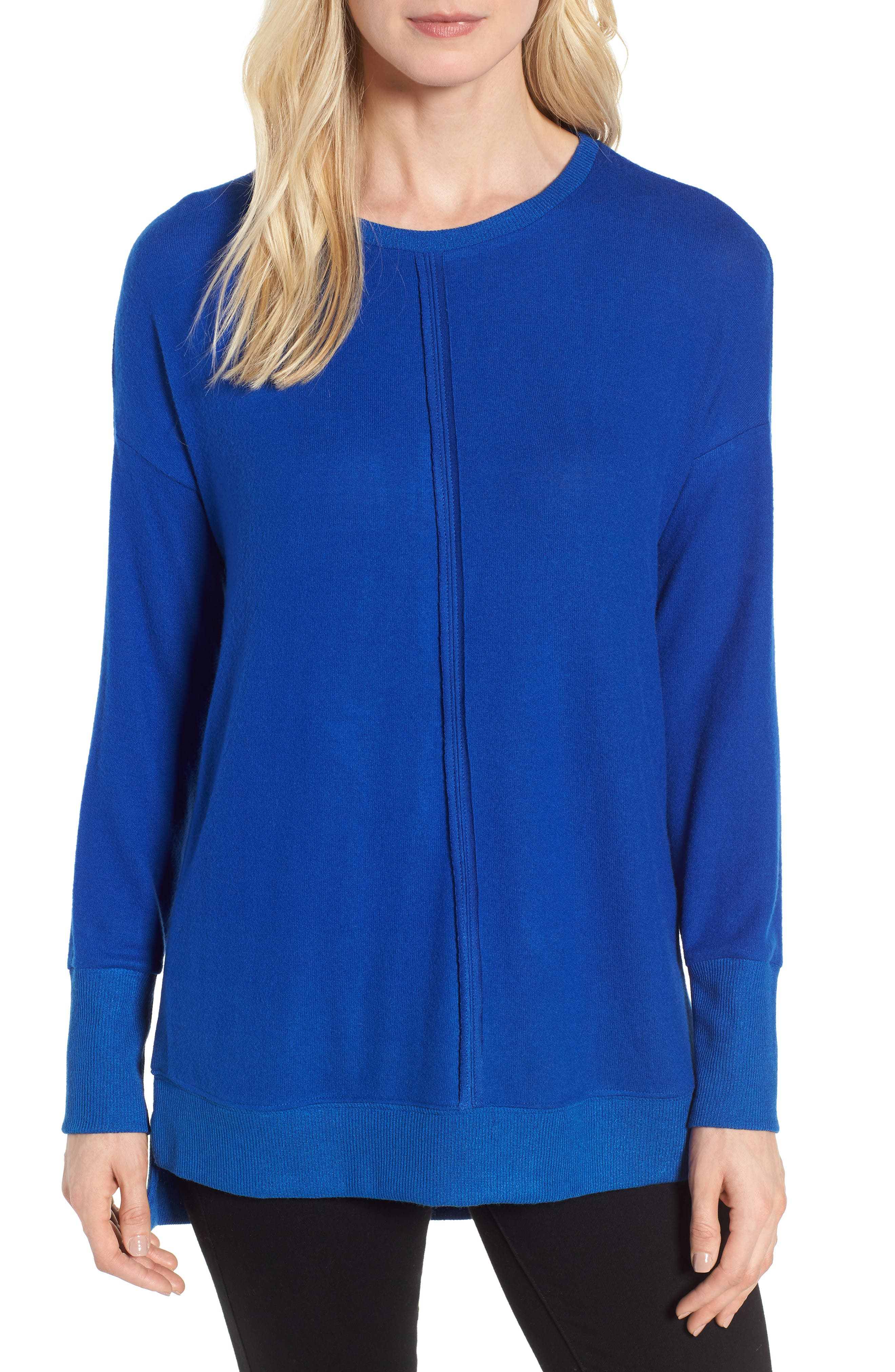 Cozy Fleece Tunic,                             Main thumbnail 1, color,                             Blue Surf