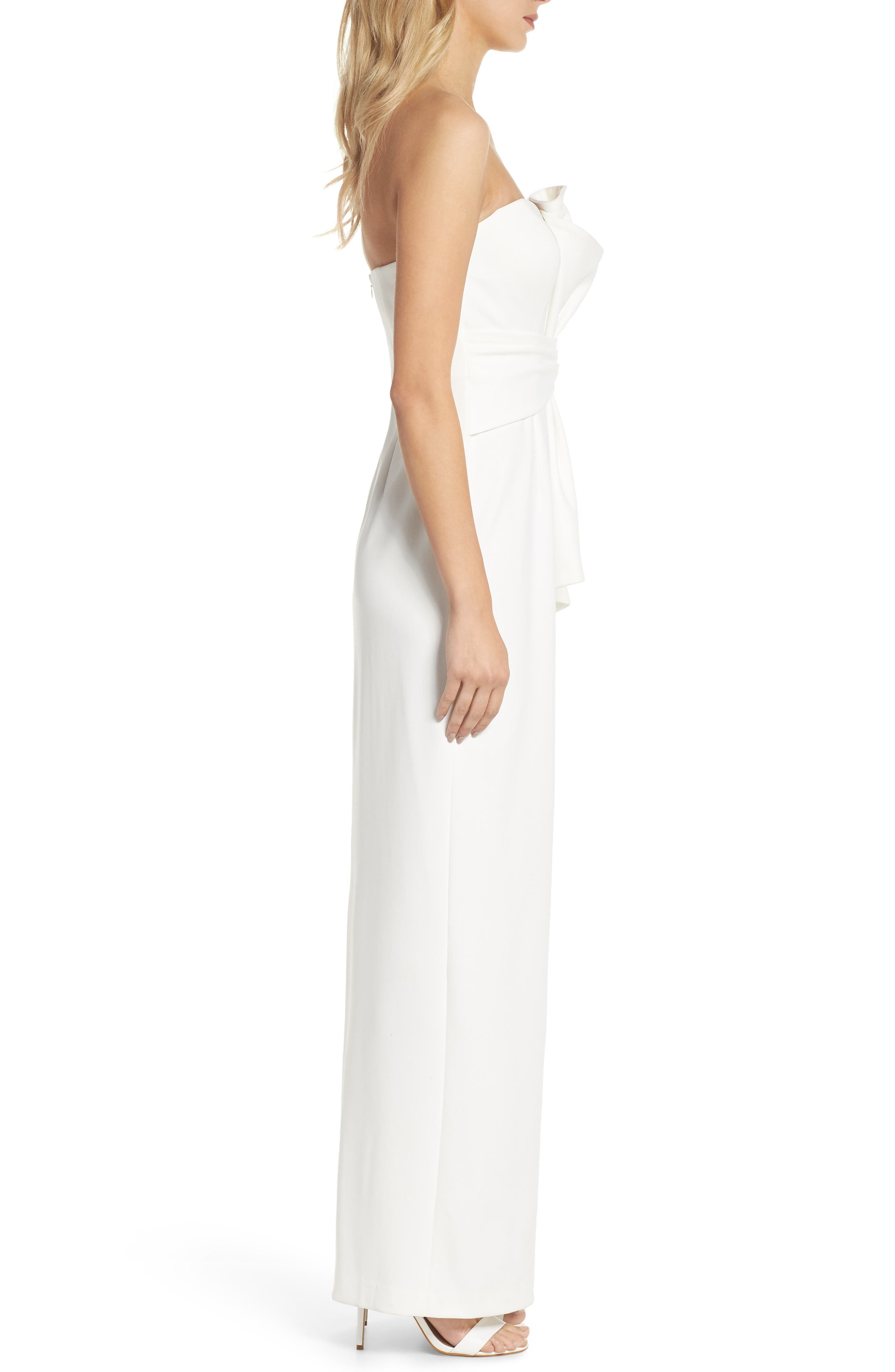 Strapless Bow Column Gown,                             Alternate thumbnail 3, color,                             Ivory