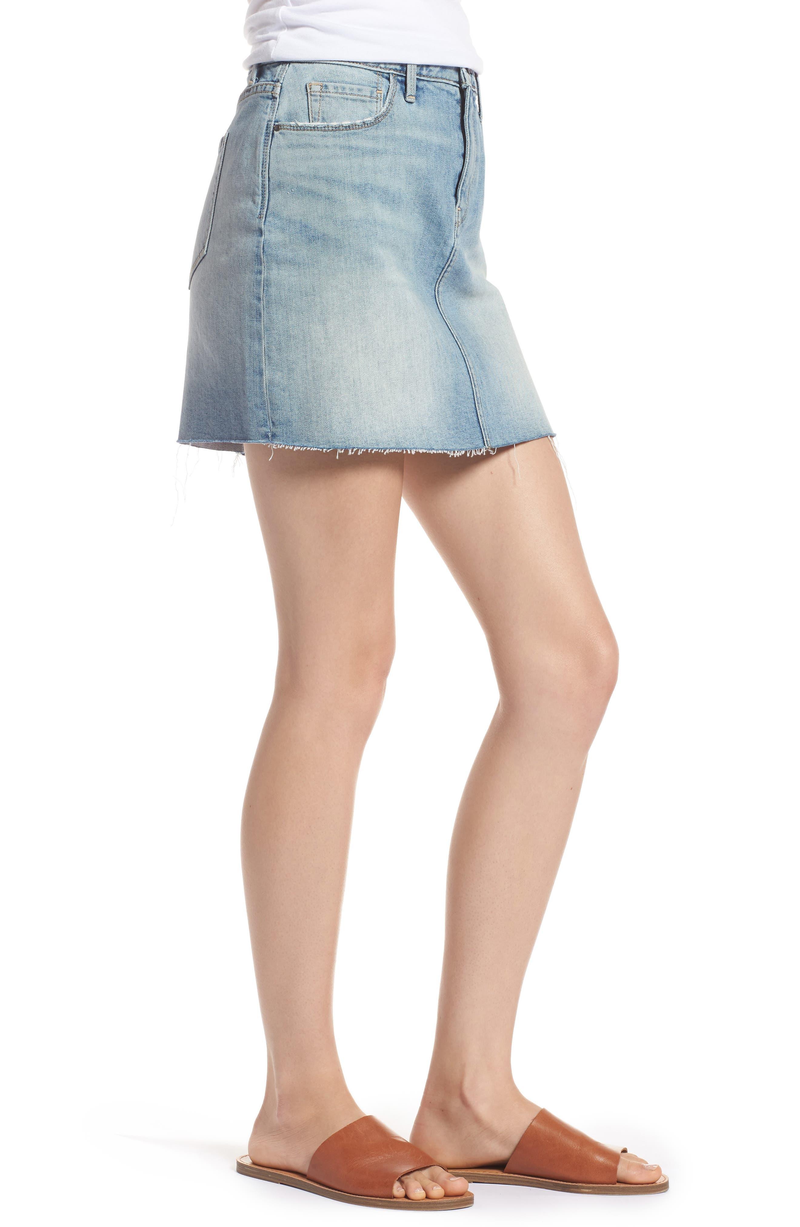 Denim Miniskirt,                             Alternate thumbnail 3, color,                             Gravel Light Vintage