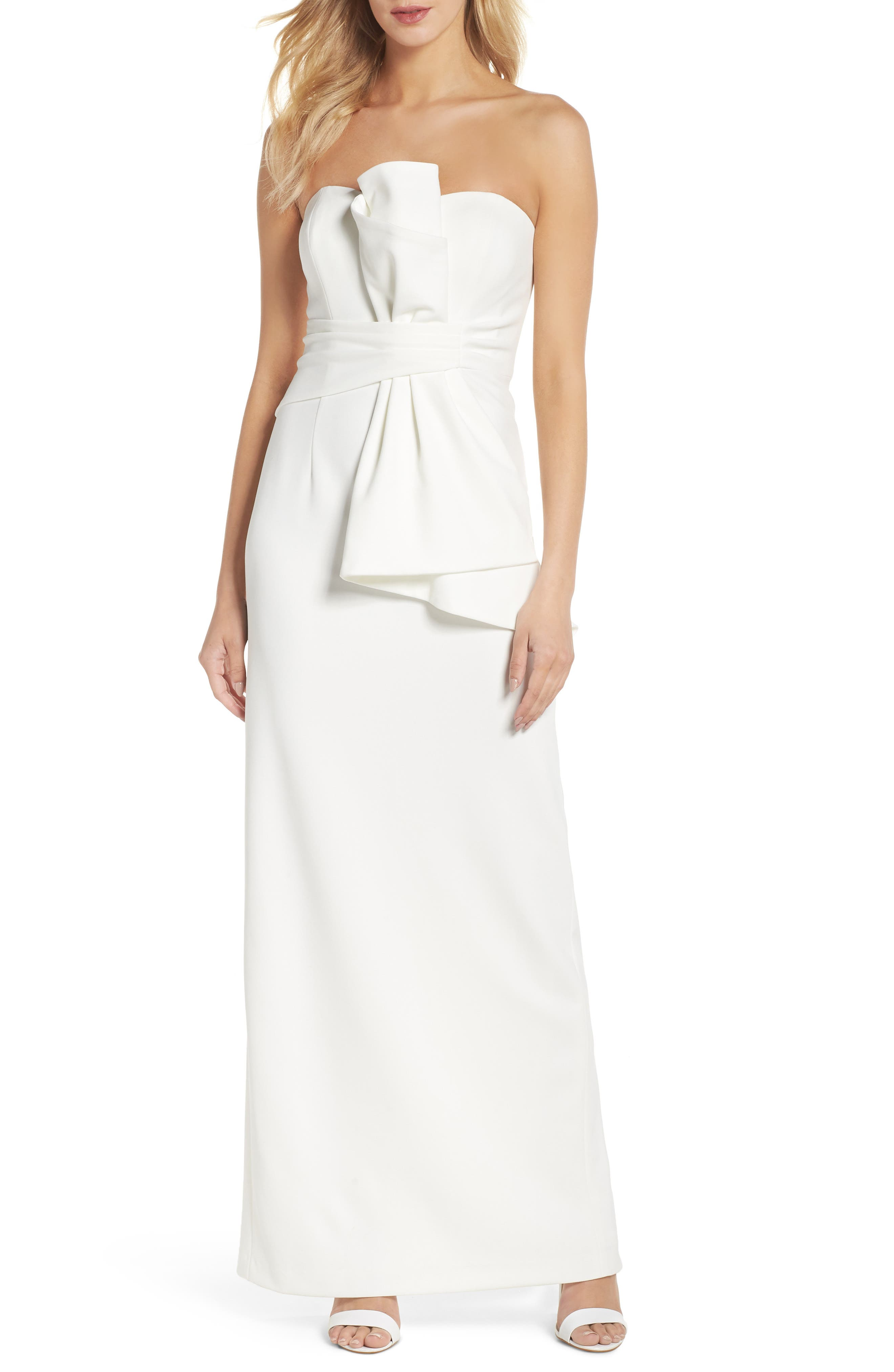 Strapless Bow Column Gown,                         Main,                         color, Ivory
