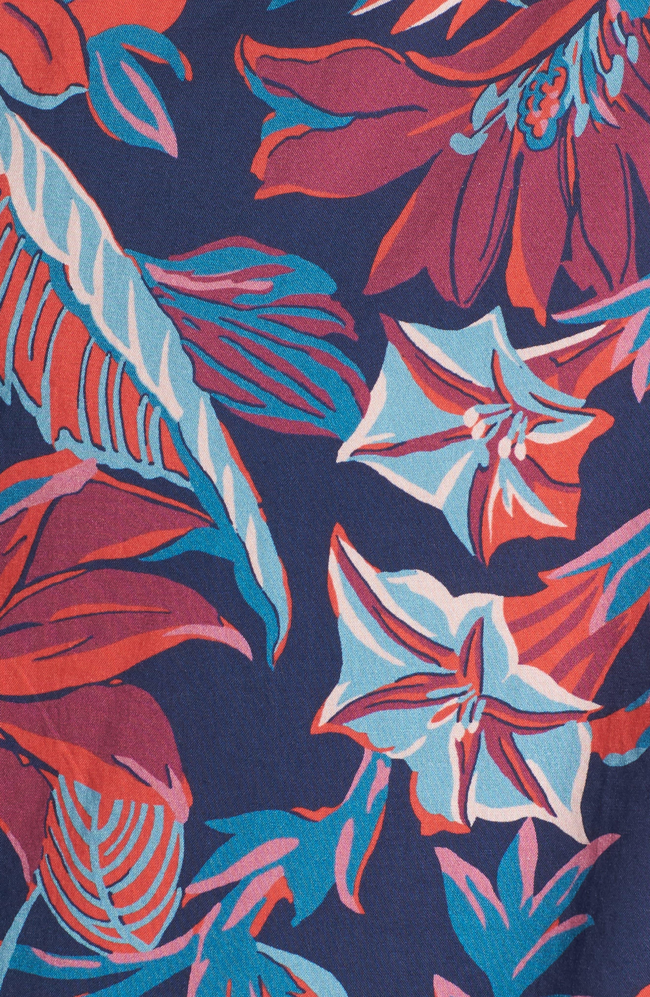 Slim Fit Print Sport Shirt,                             Alternate thumbnail 5, color,                             Pavilion Floral - Deep Pacific