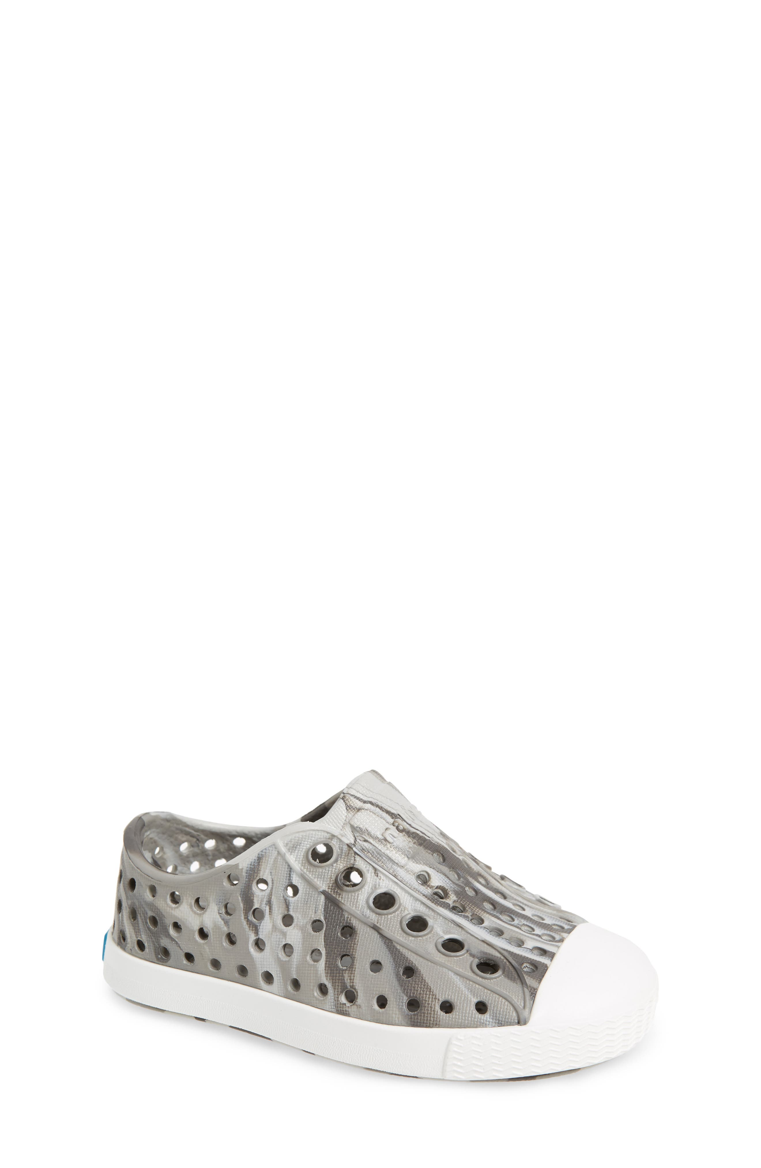 Jefferson - Marbled Perforated Slip-On,                             Main thumbnail 1, color,                             Grey/ Shell White/ Marble