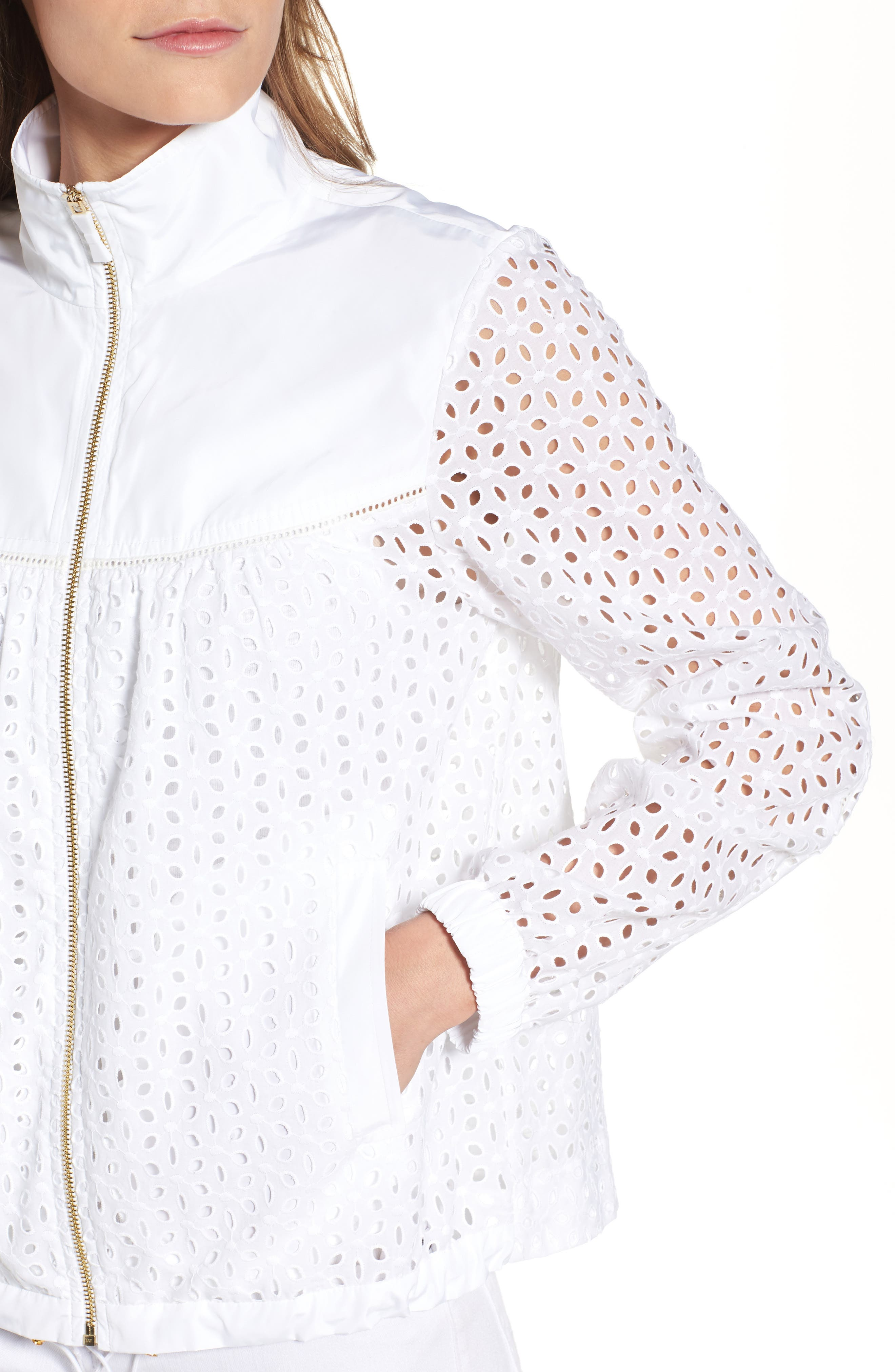 Eyelet Jacket,                             Alternate thumbnail 3, color,                             Fresh White