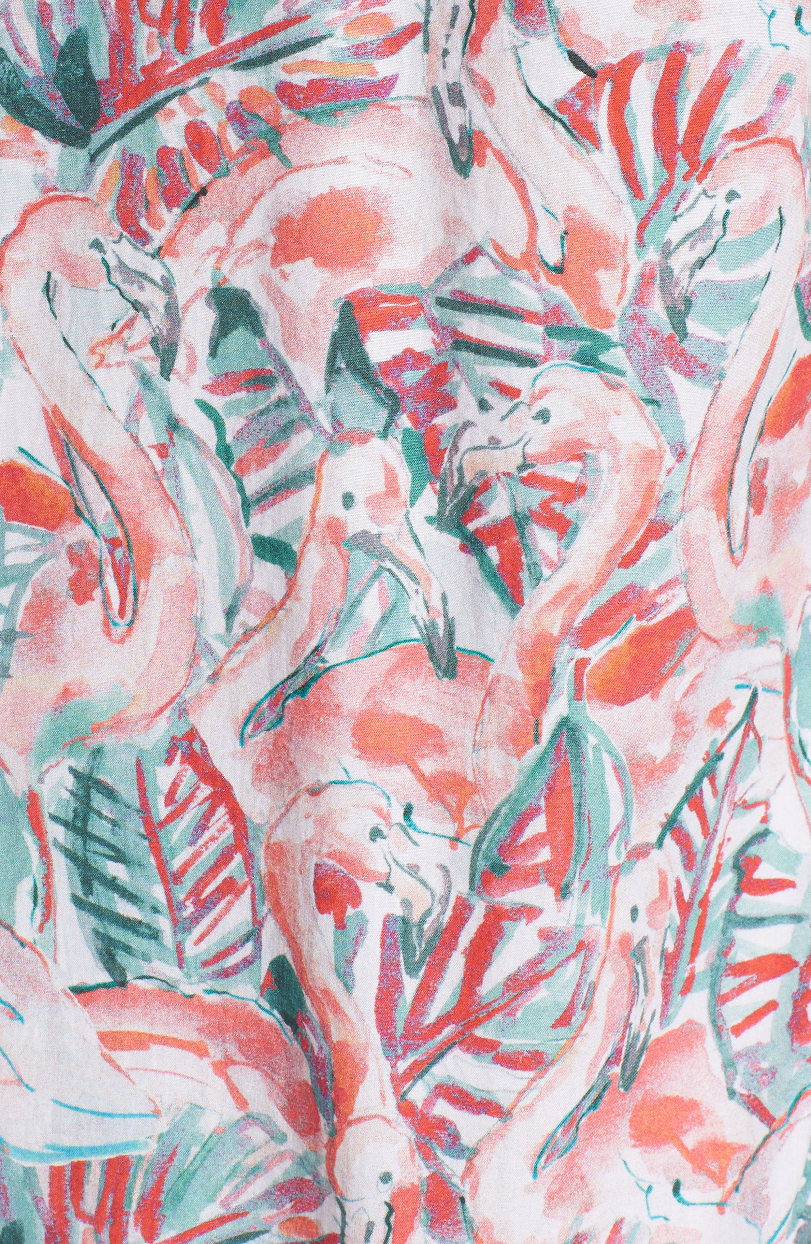 Slim Fit Print Premium Sport Shirt,                             Alternate thumbnail 5, color,                             Painterly Flamingo - Coral Fan