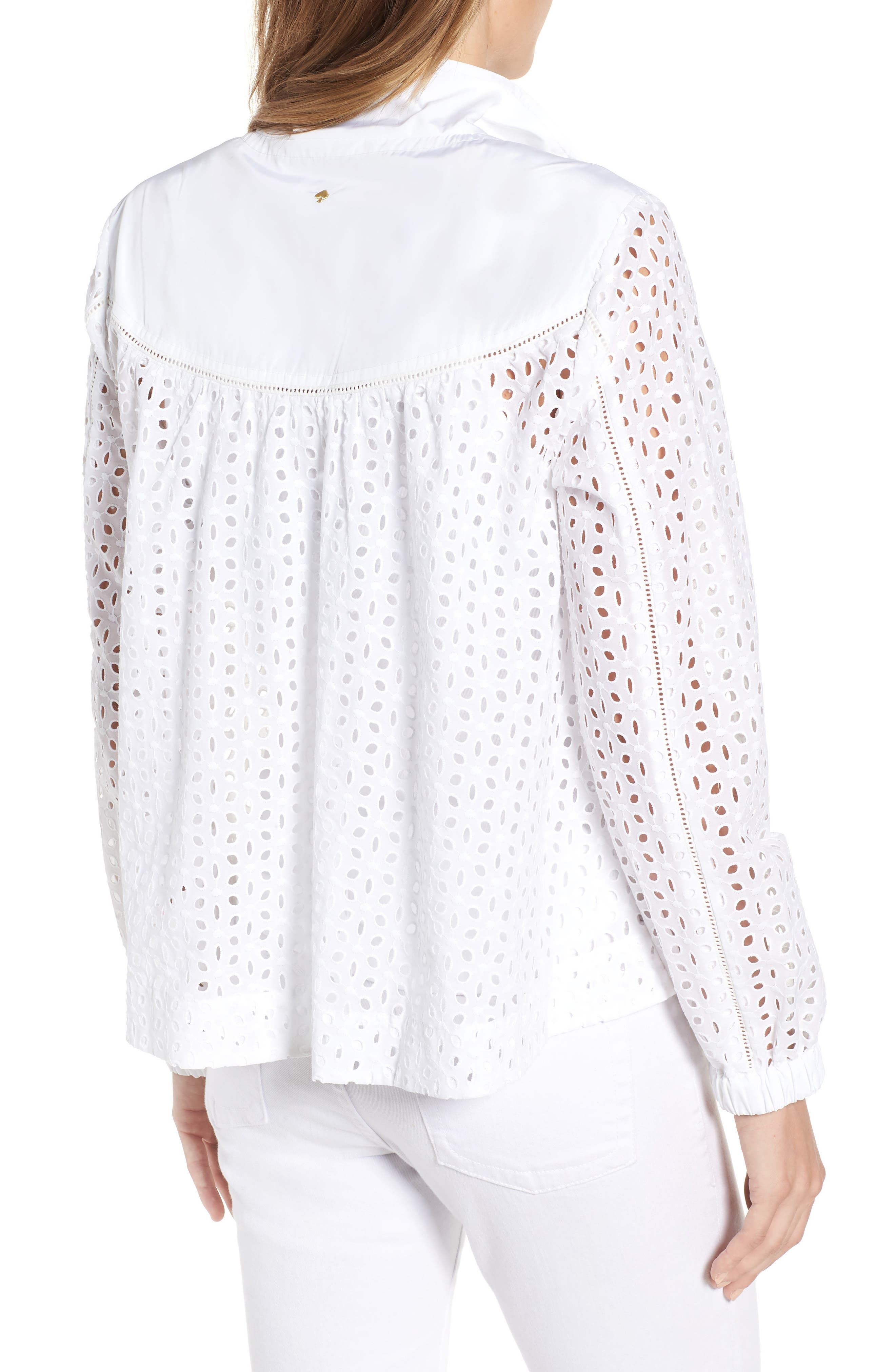 Eyelet Jacket,                             Alternate thumbnail 2, color,                             Fresh White