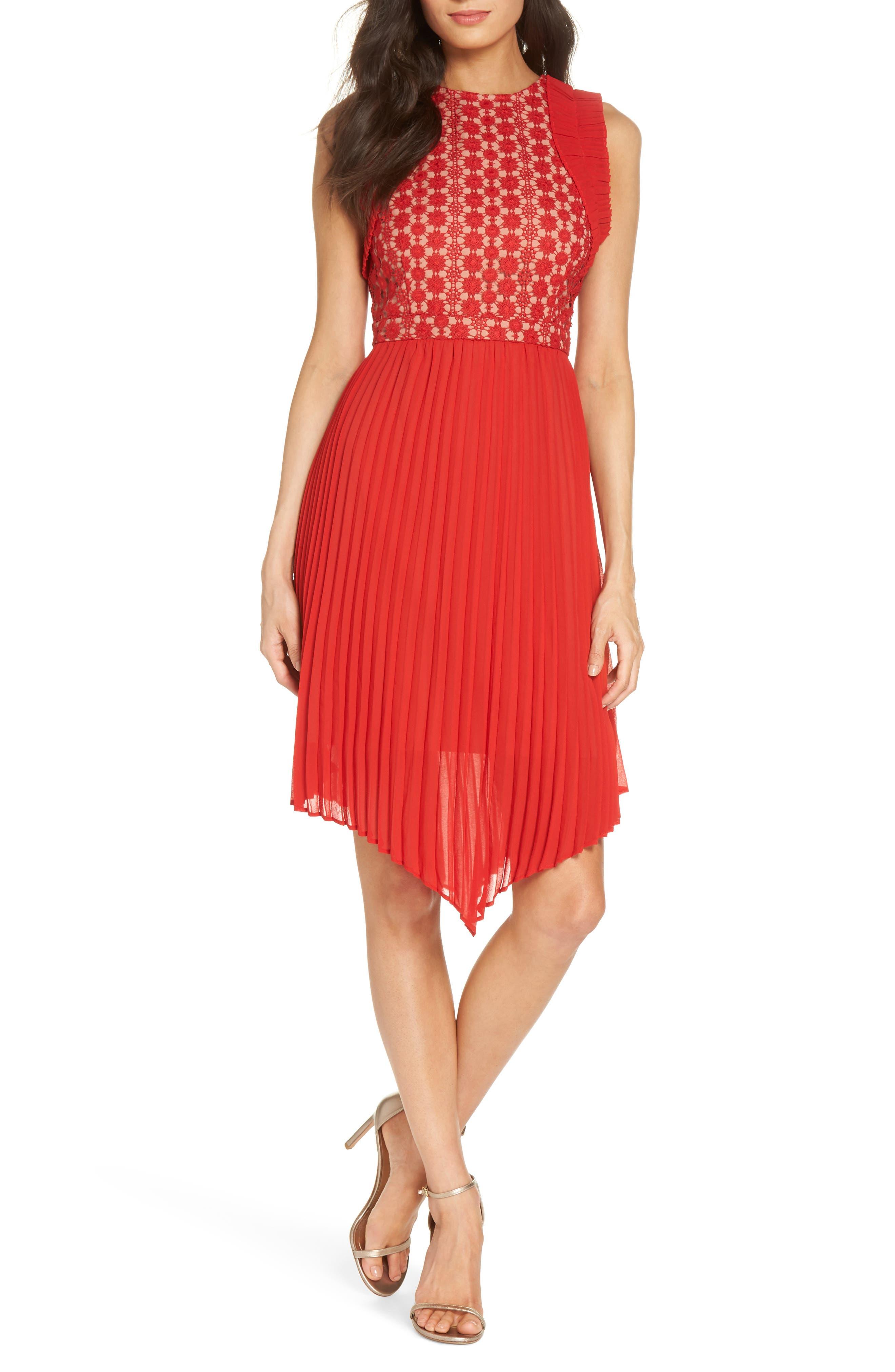 Nealea Pleated Sheath Dress,                             Main thumbnail 1, color,                             Red