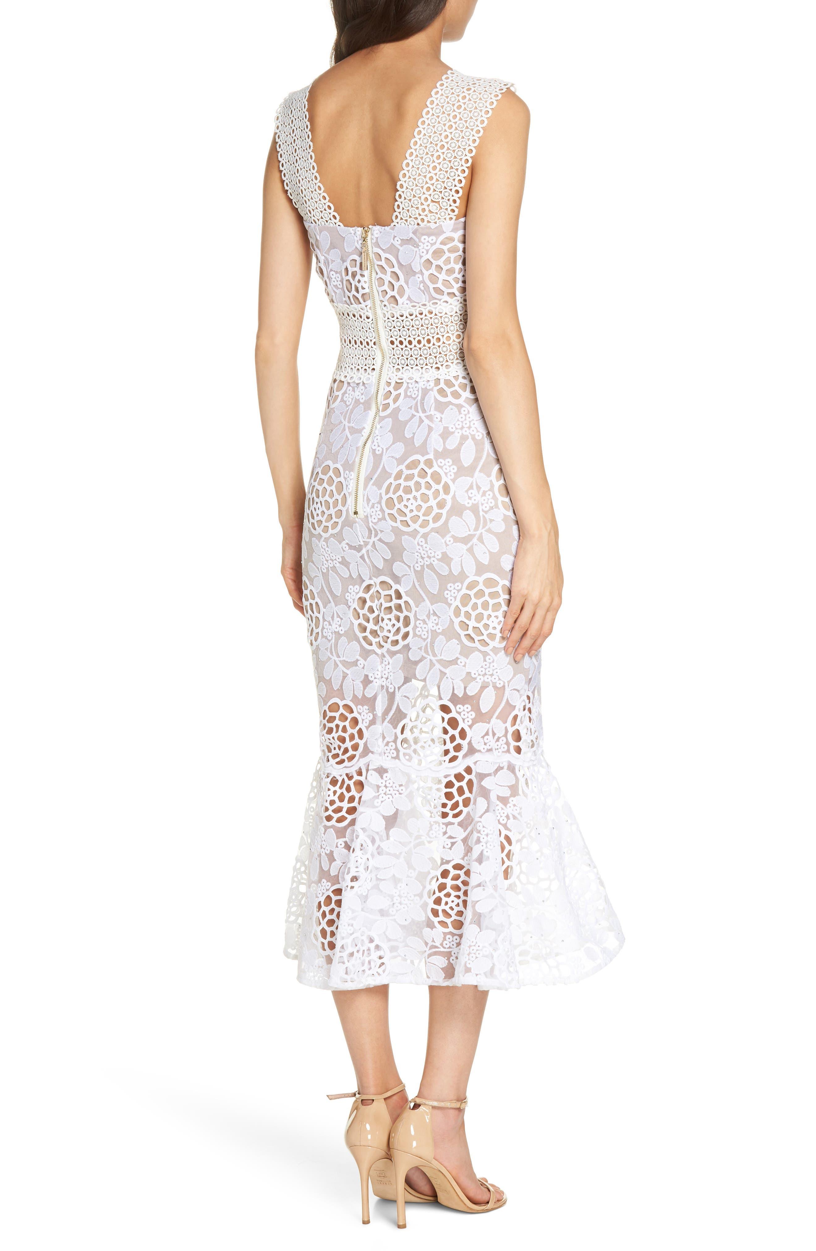 Capri Floral Lace Midi Dress,                             Alternate thumbnail 2, color,                             White