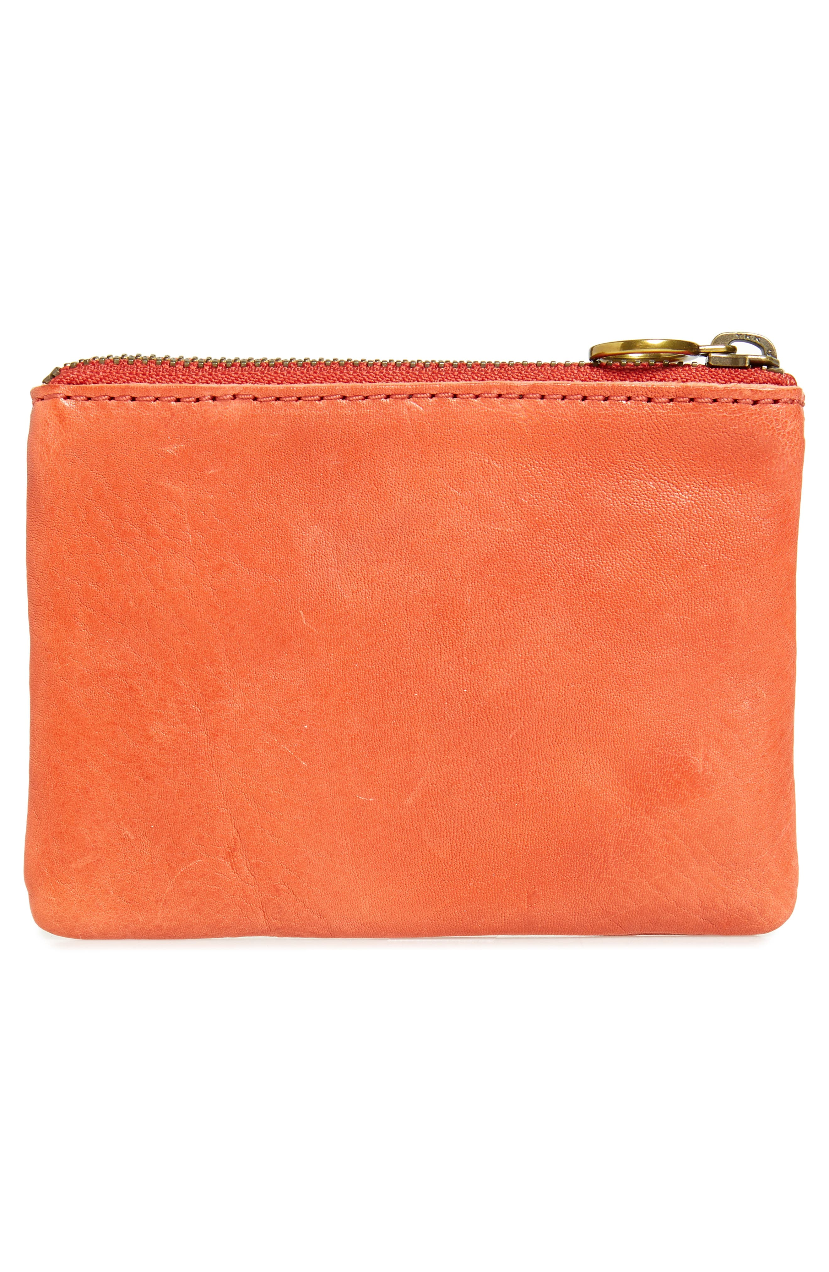 Eye Embroidered Leather Zip Pouch,                             Alternate thumbnail 3, color,                             Parched Terracotta