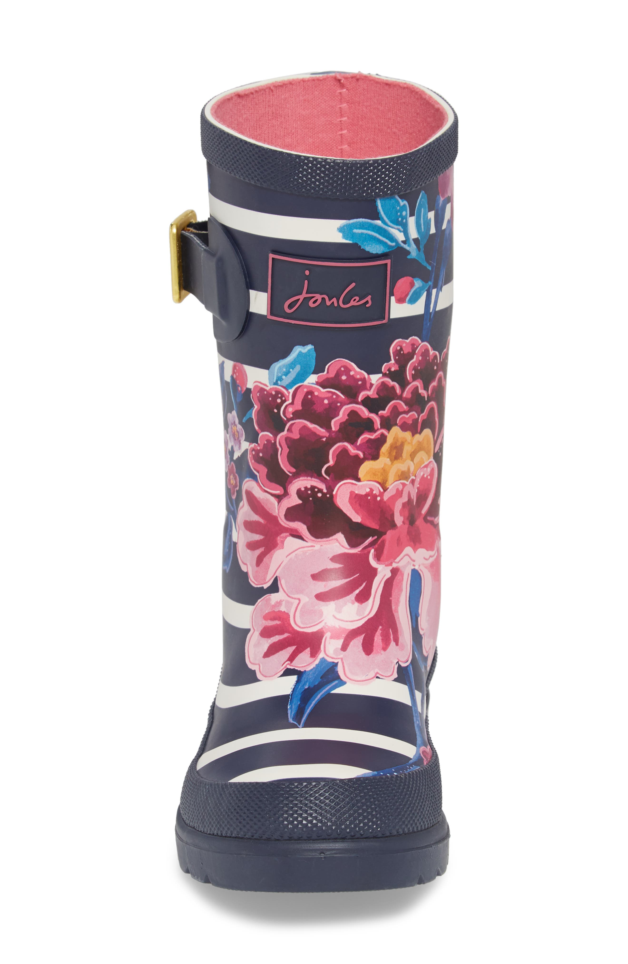 Mid Height Print Welly Rain Boot,                             Alternate thumbnail 5, color,                             Violet Stripe Floral