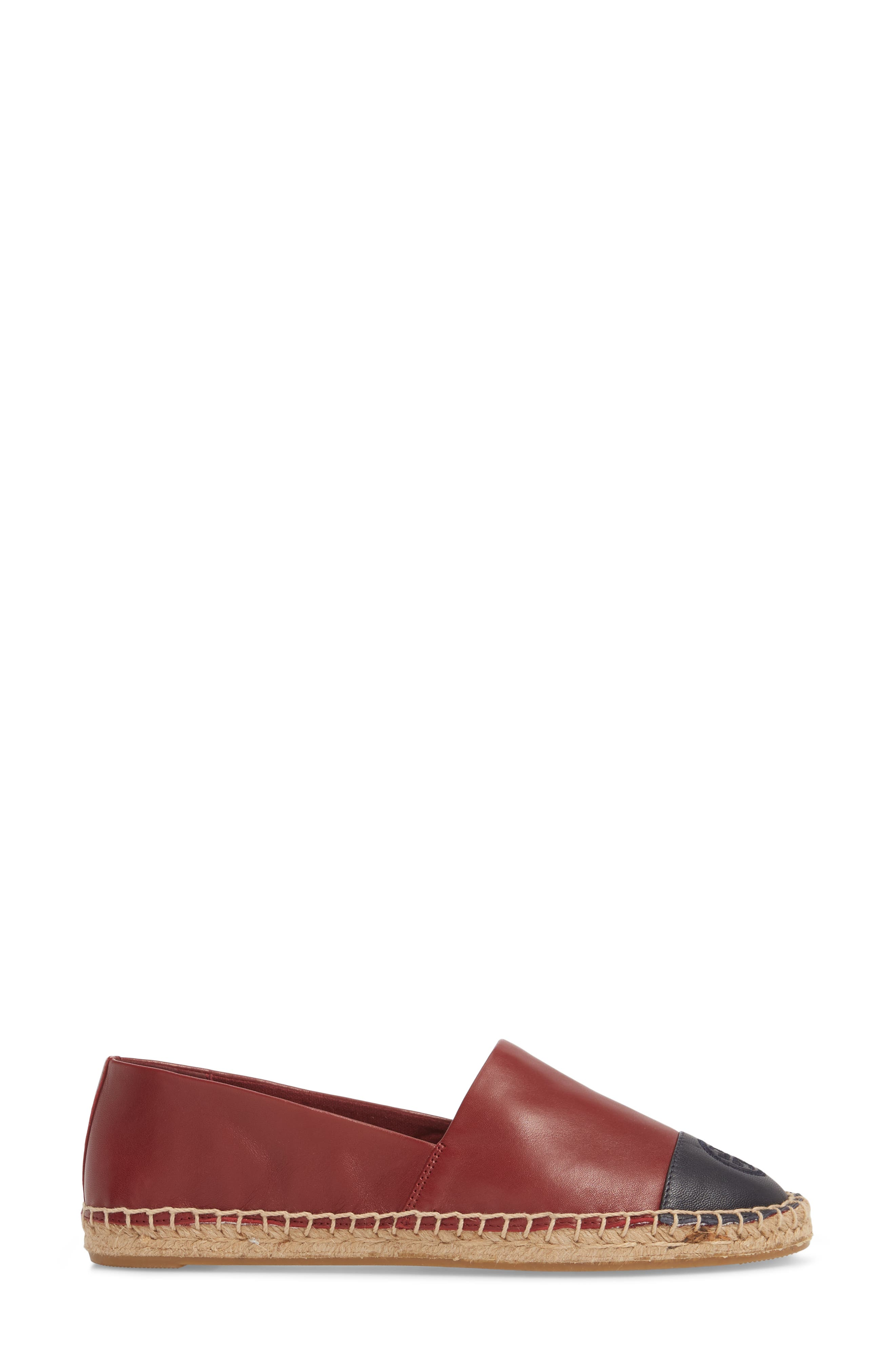 Colorblock Espadrille Flat,                             Alternate thumbnail 3, color,                             Tuscan Wine/ Tory Navy