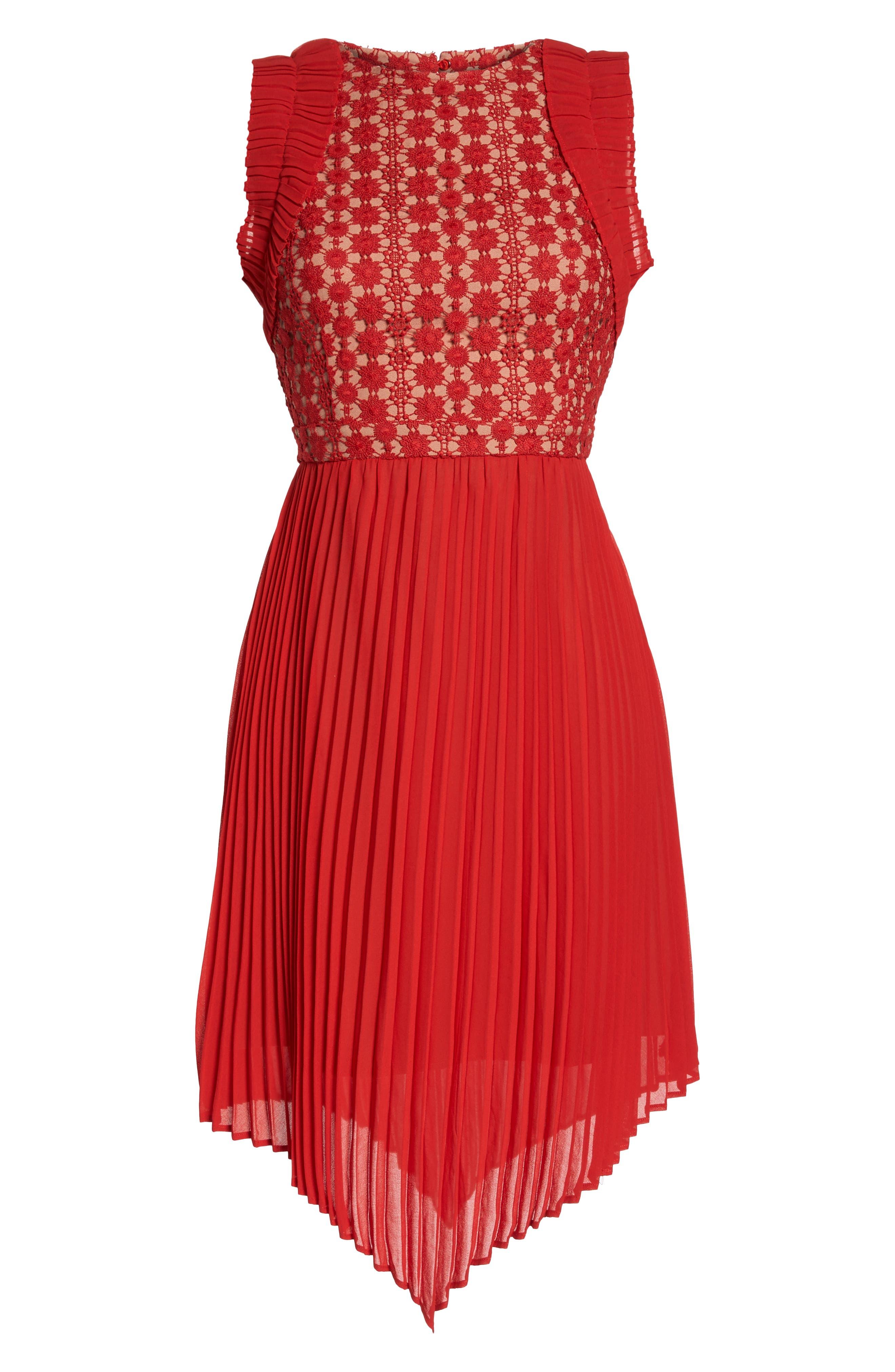 Nealea Pleated Sheath Dress,                             Alternate thumbnail 8, color,                             Red