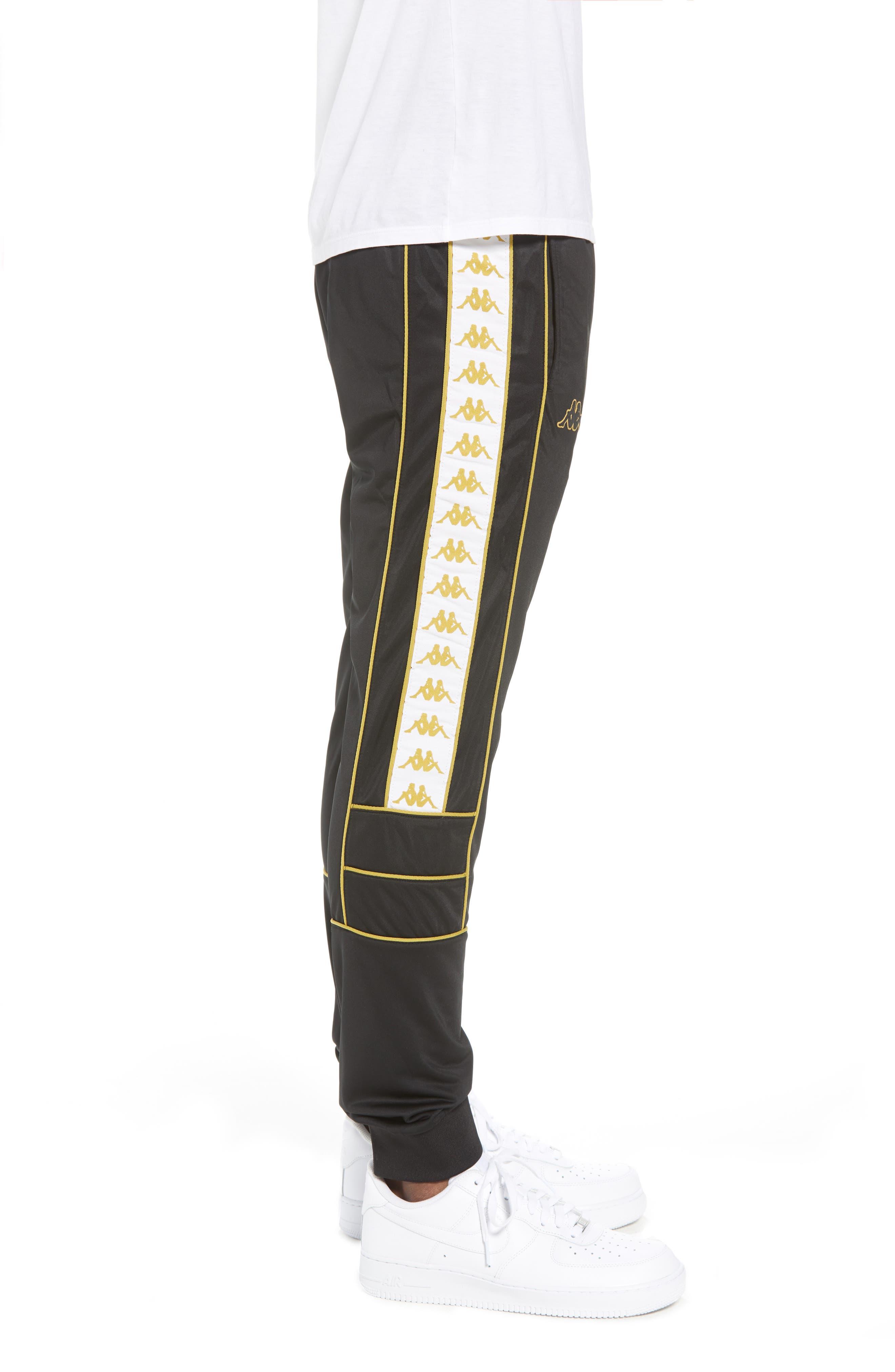 Racing Track Pants,                             Alternate thumbnail 3, color,                             Black/ White Gold
