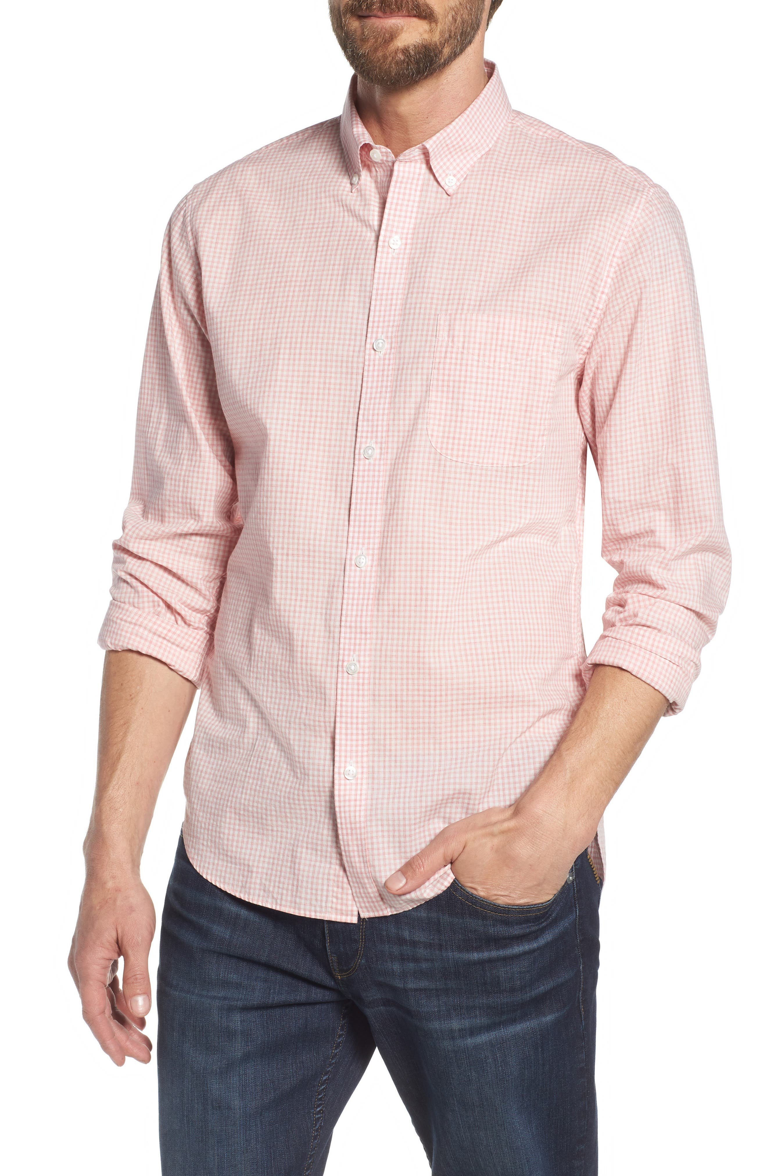 Summerweight Slim Fit Check Sport Shirt,                         Main,                         color, Mini Gingham - Heather Rose