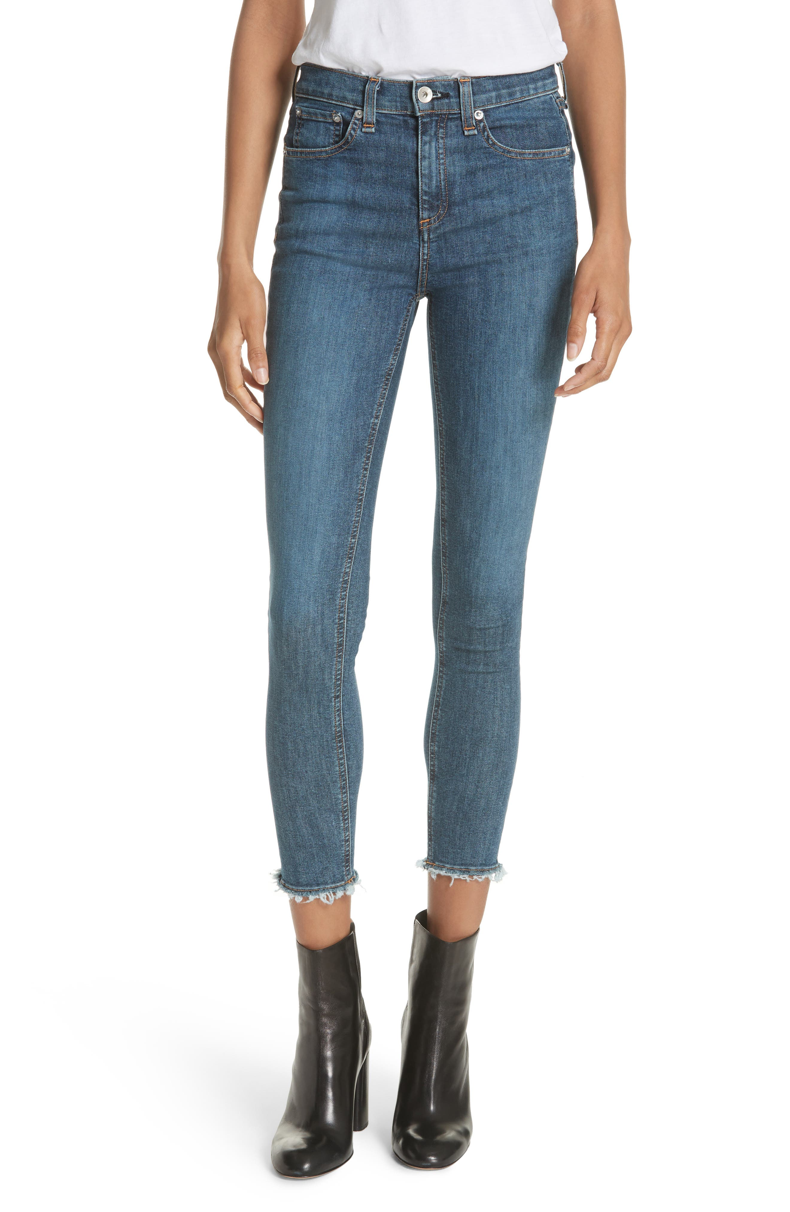 High Waist Skinny Ankle Jeans,                         Main,                         color, Mad River
