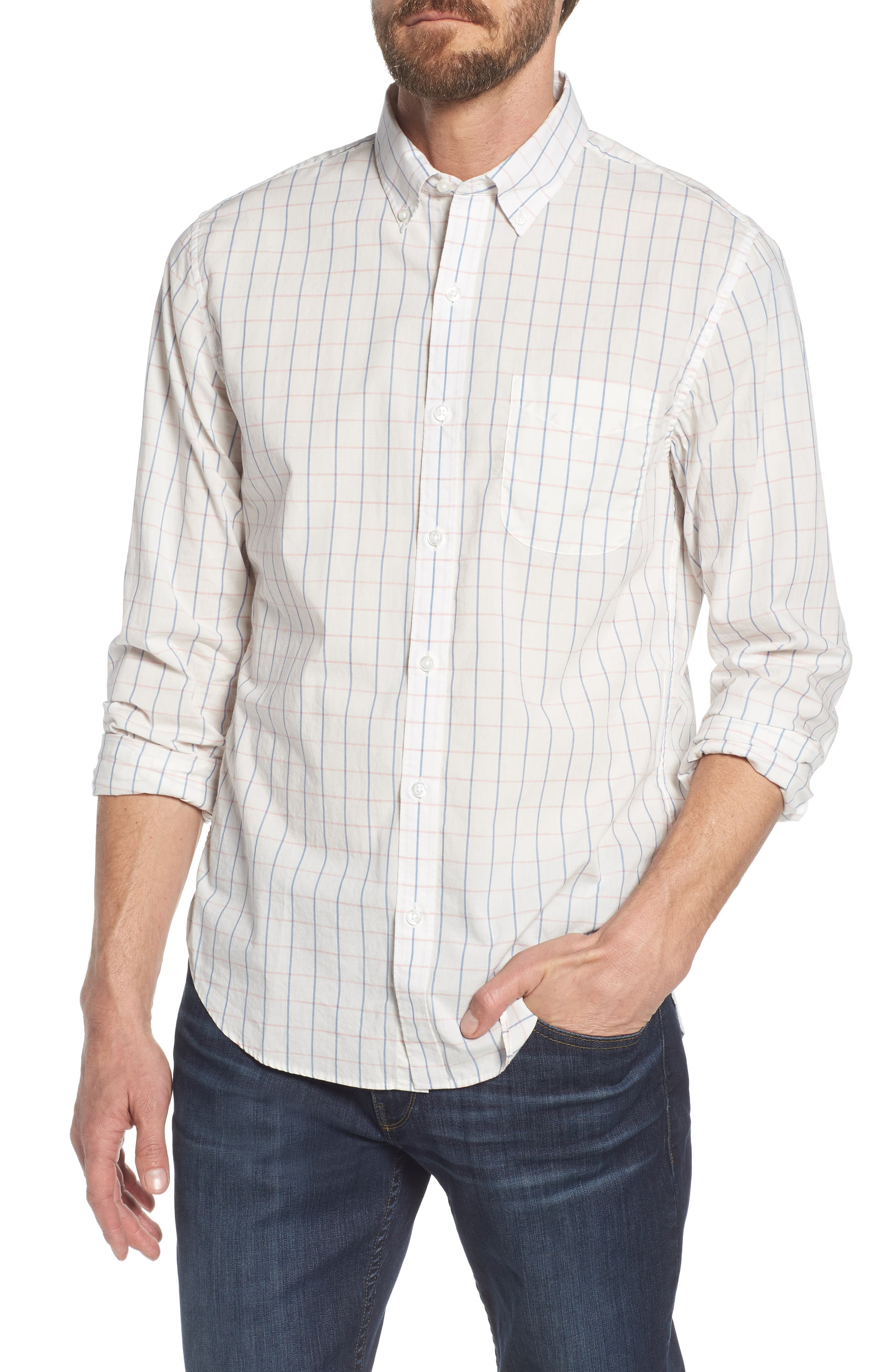 Summerweight Slim Fit Check Sport Shirt,                         Main,                         color, Coyote Check - Heather Rose