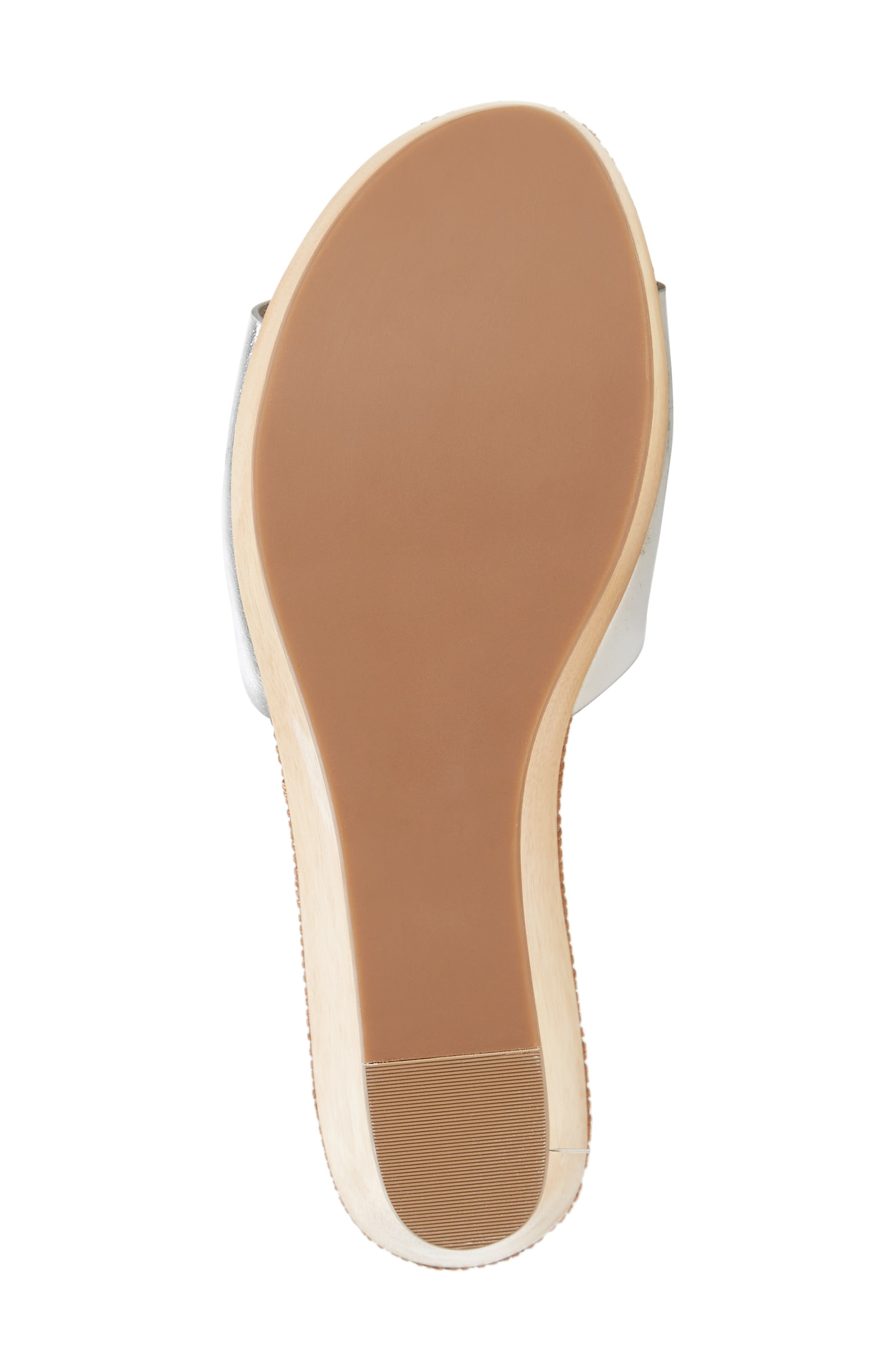 Patty Logo Platform Wedge Sandal,                             Alternate thumbnail 6, color,                             Silver