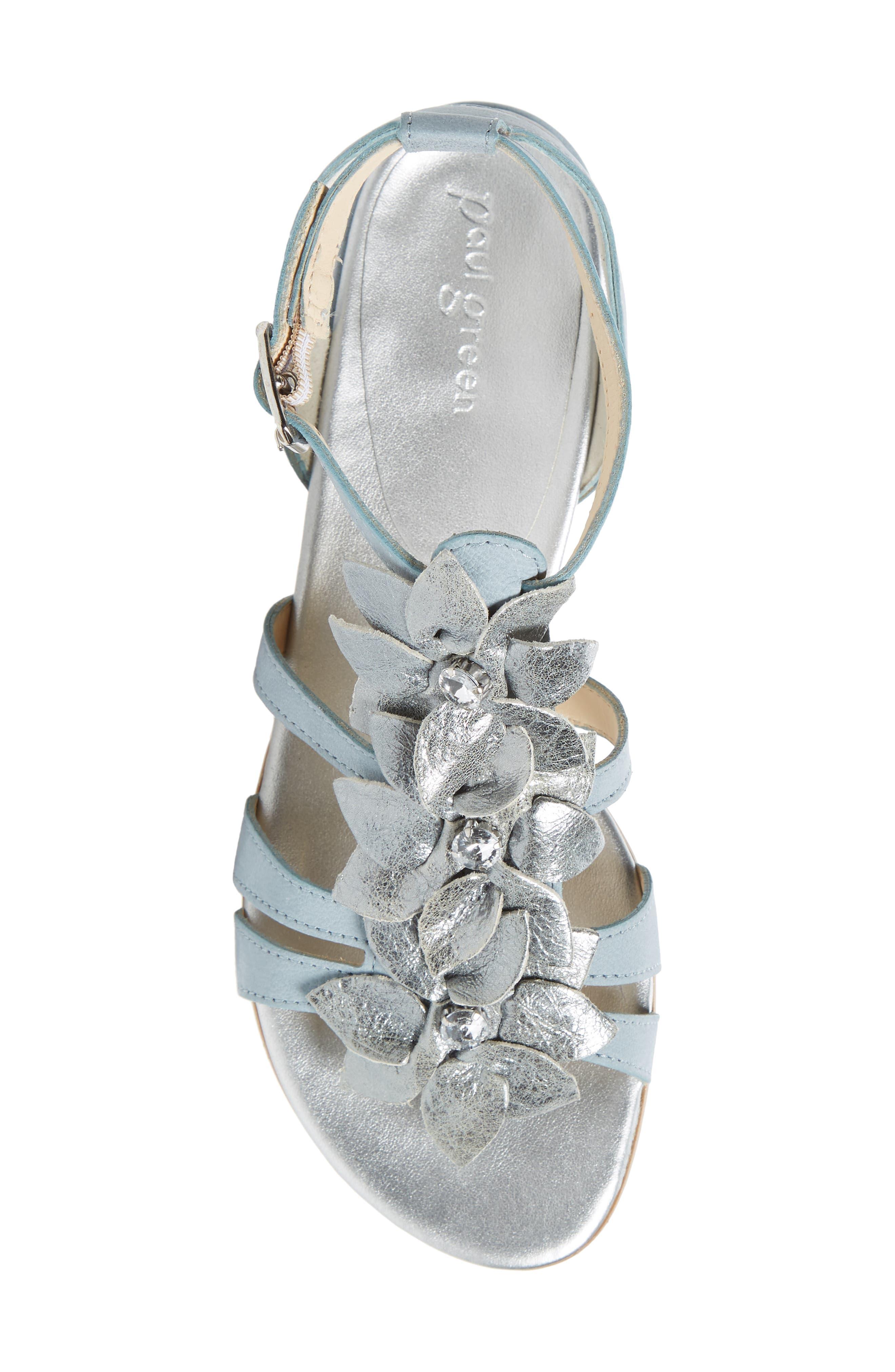 Norien Embellished Flower Sandal,                             Alternate thumbnail 5, color,                             Lago Brushed Leather
