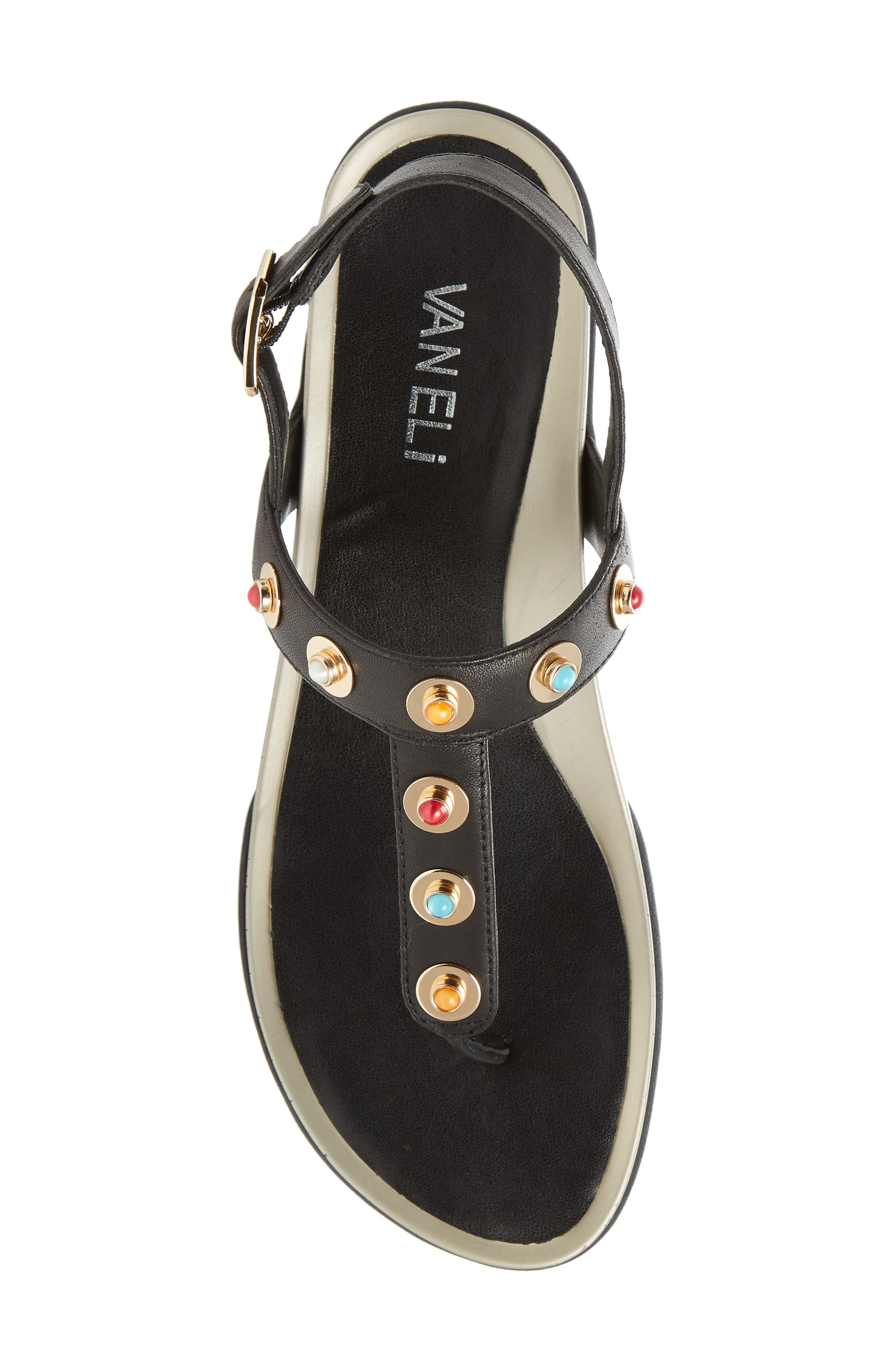 Wally Studded T-Strap Sandal,                             Alternate thumbnail 5, color,                             Black Leather