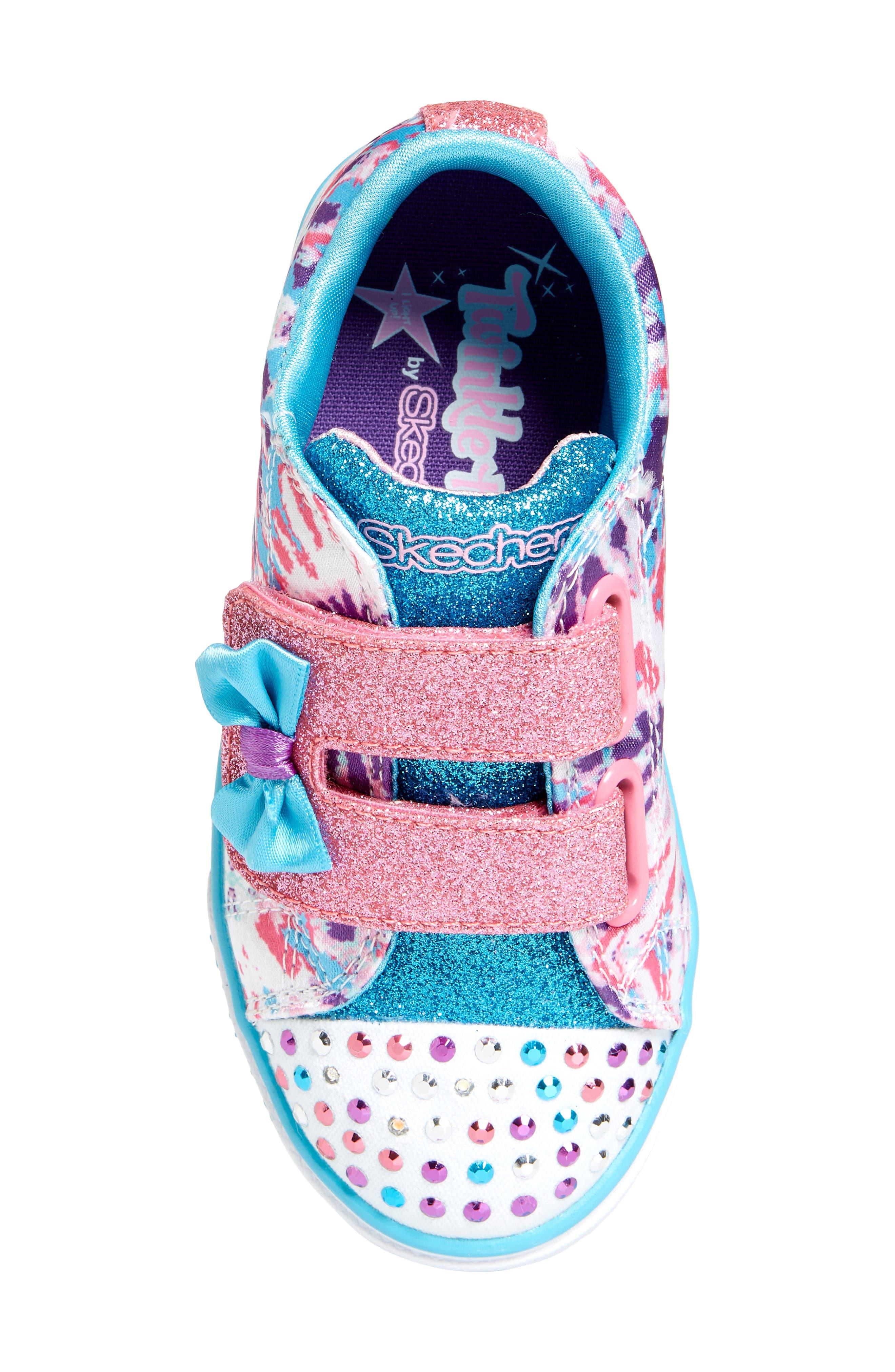 Sparkle Glitz Lil Dazzle Sneaker,                             Alternate thumbnail 5, color,                             White/ Multi
