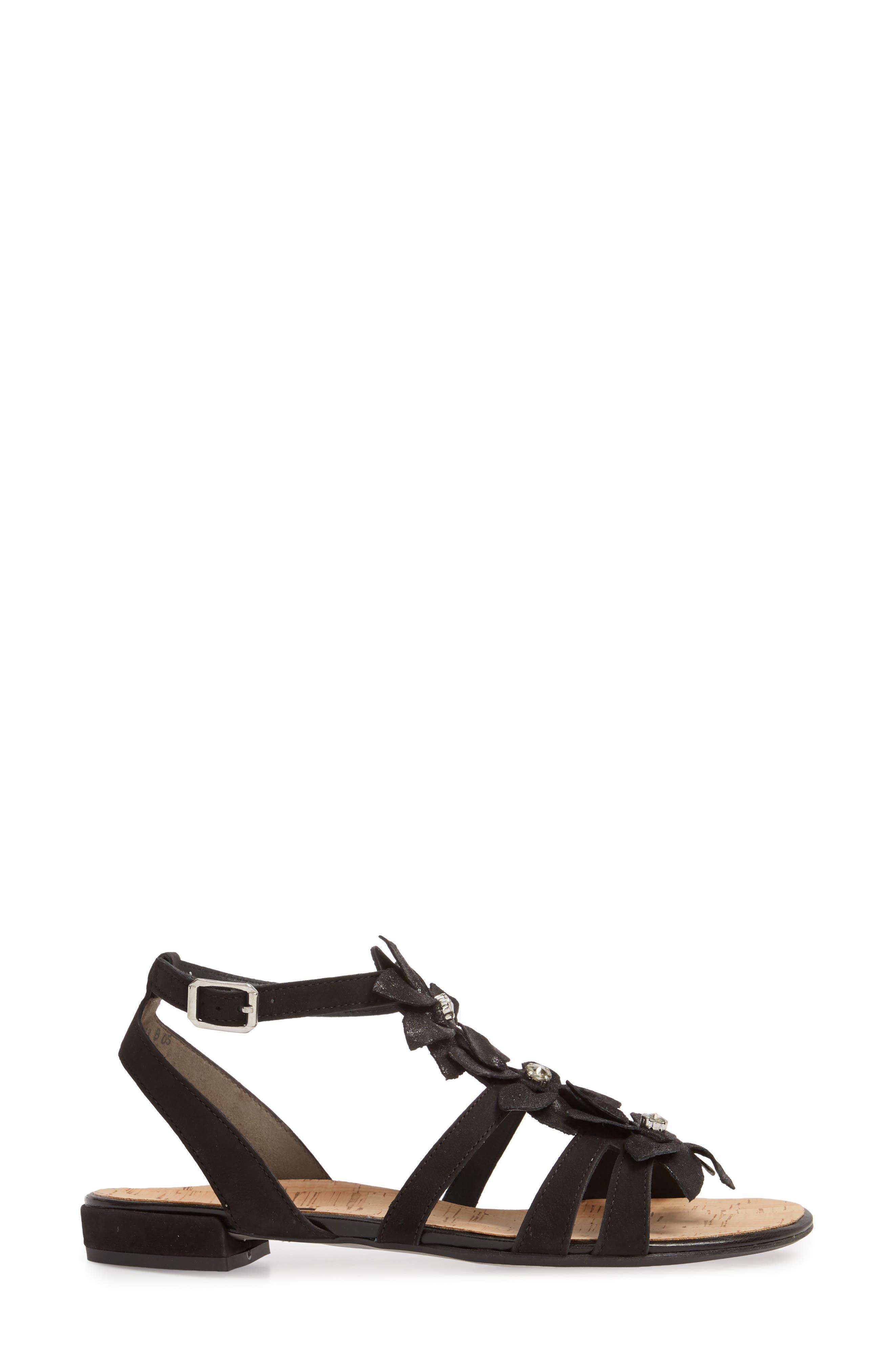 Roma Sandal,                             Alternate thumbnail 3, color,                             Black Nubuck