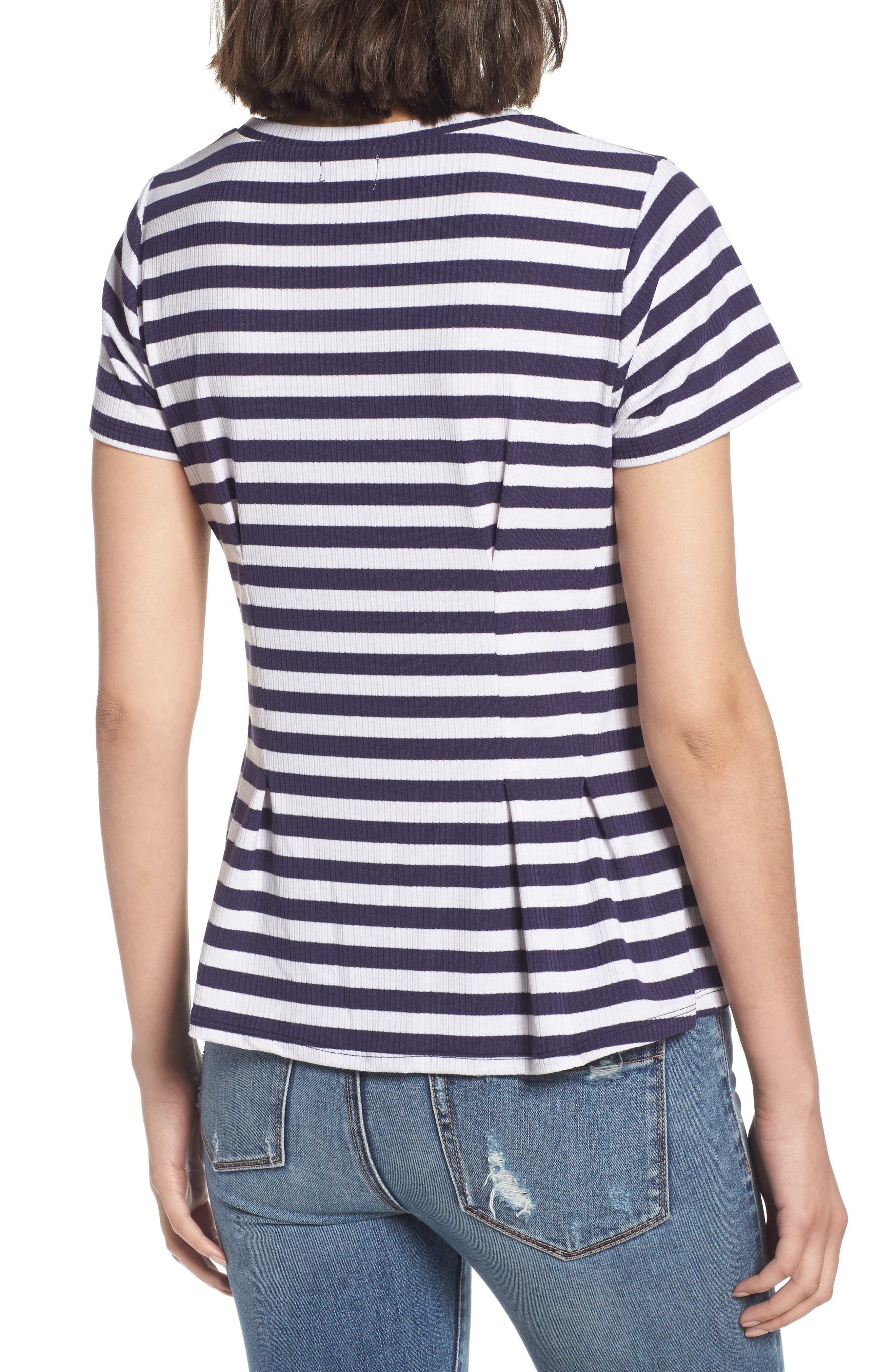 Stripe Peplum Tee,                             Alternate thumbnail 2, color,                             Navy/ White Stripe