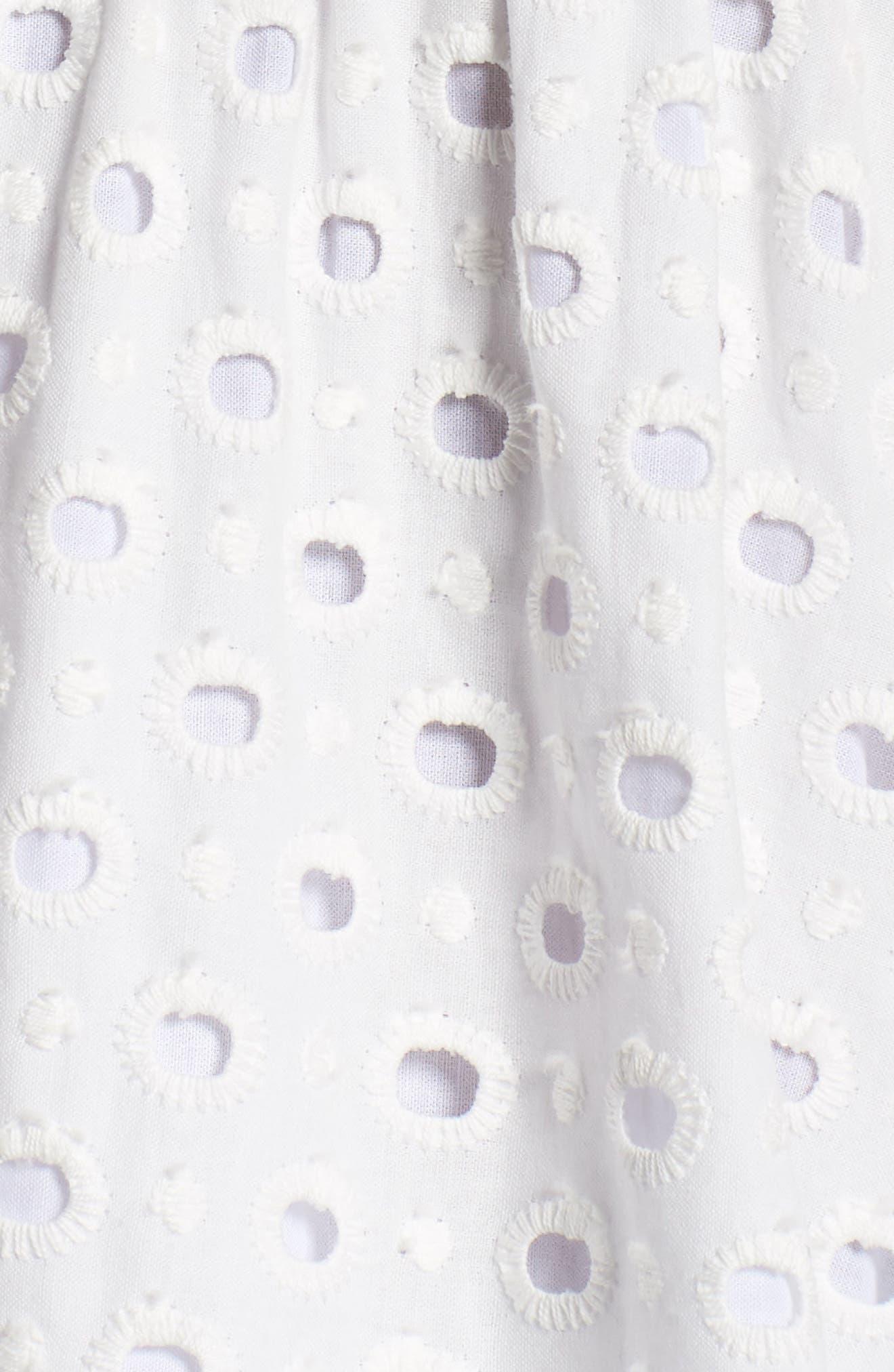 Bow Back Eyelet Sundress,                             Alternate thumbnail 6, color,                             White