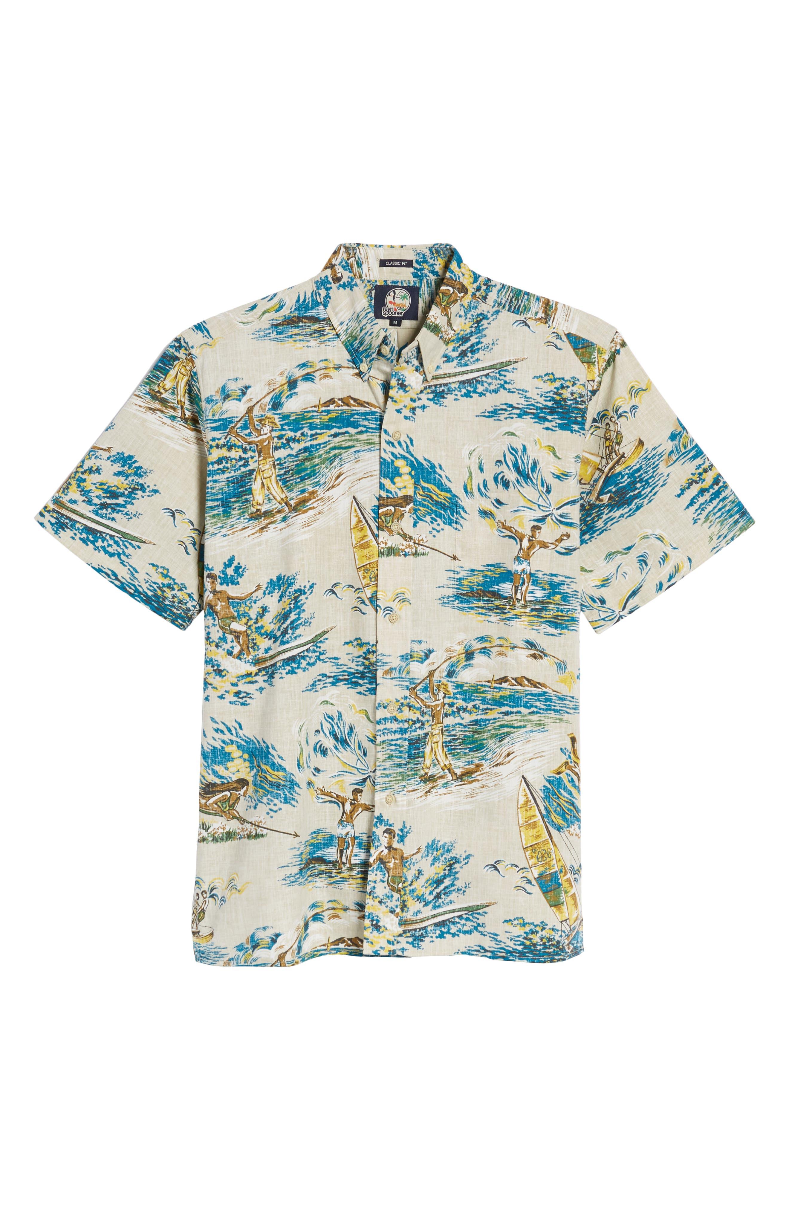 Moana Medley Classic Fit Print Sport Shirt,                             Alternate thumbnail 6, color,                             Chalk