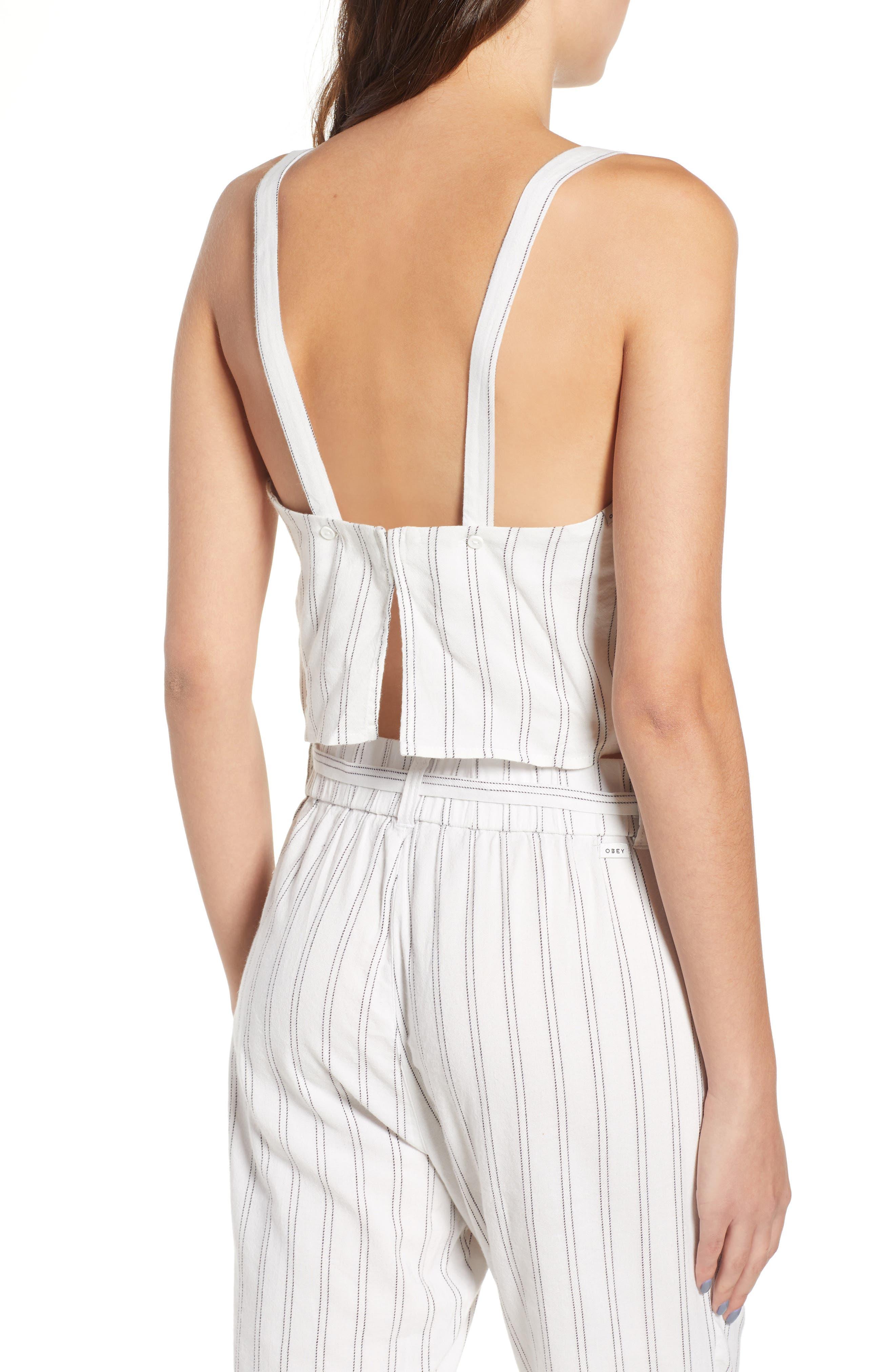 Tulum Stripe Crop Camisole,                             Alternate thumbnail 2, color,                             White Multi