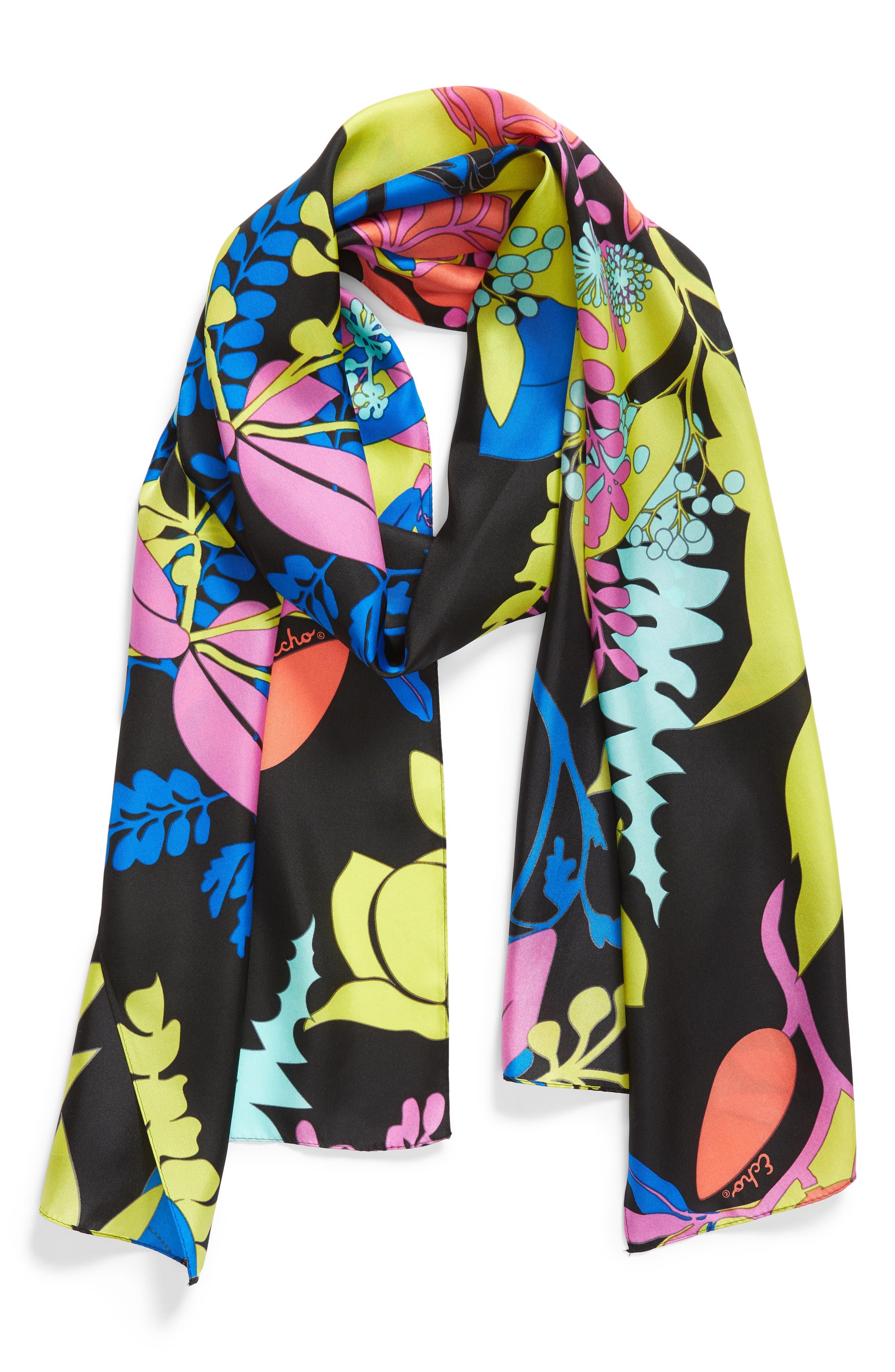 Alonnah Floral Silk Scarf,                             Alternate thumbnail 2, color,                             Black