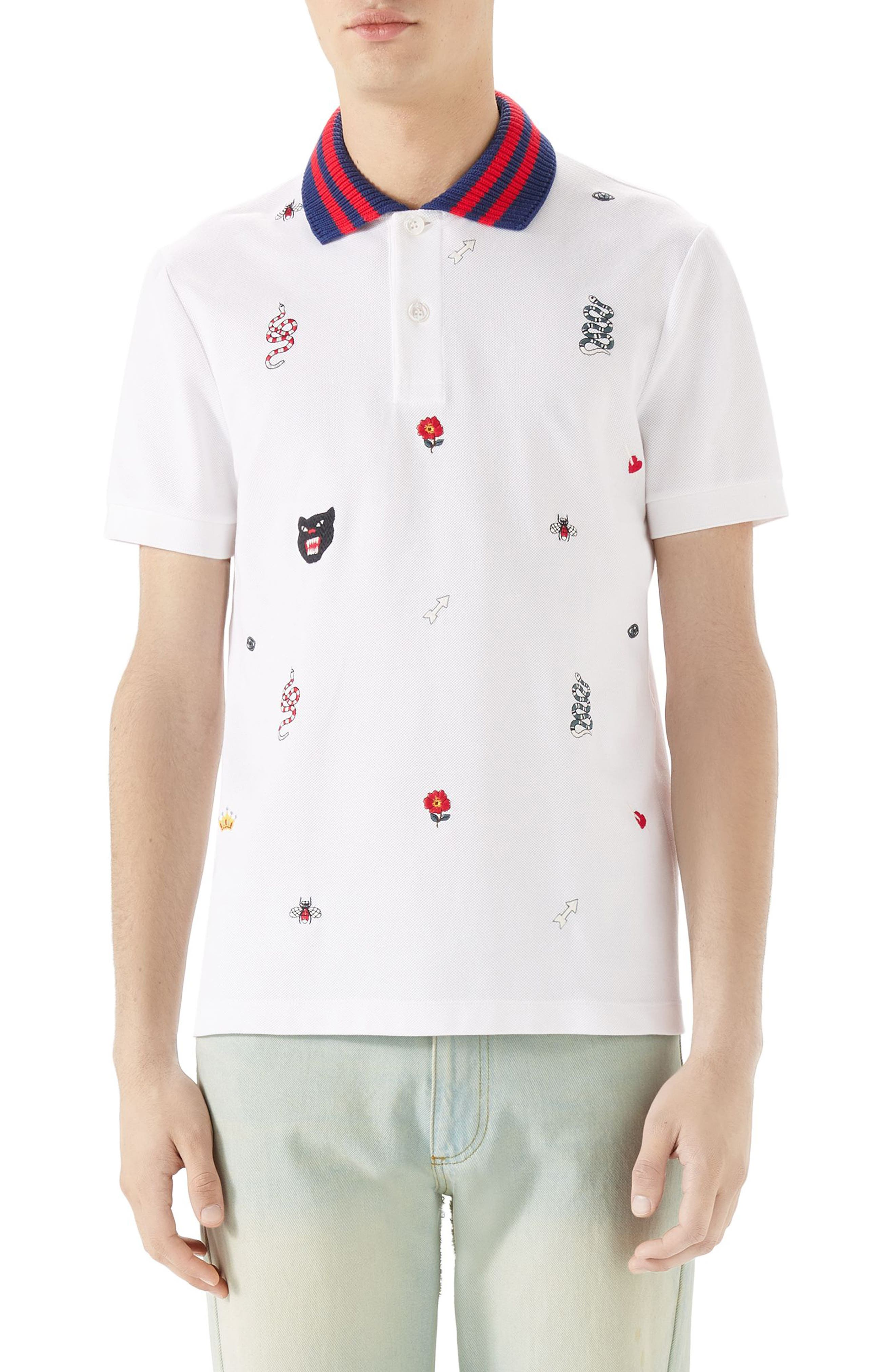 Embroidered Piqué Polo,                         Main,                         color, White
