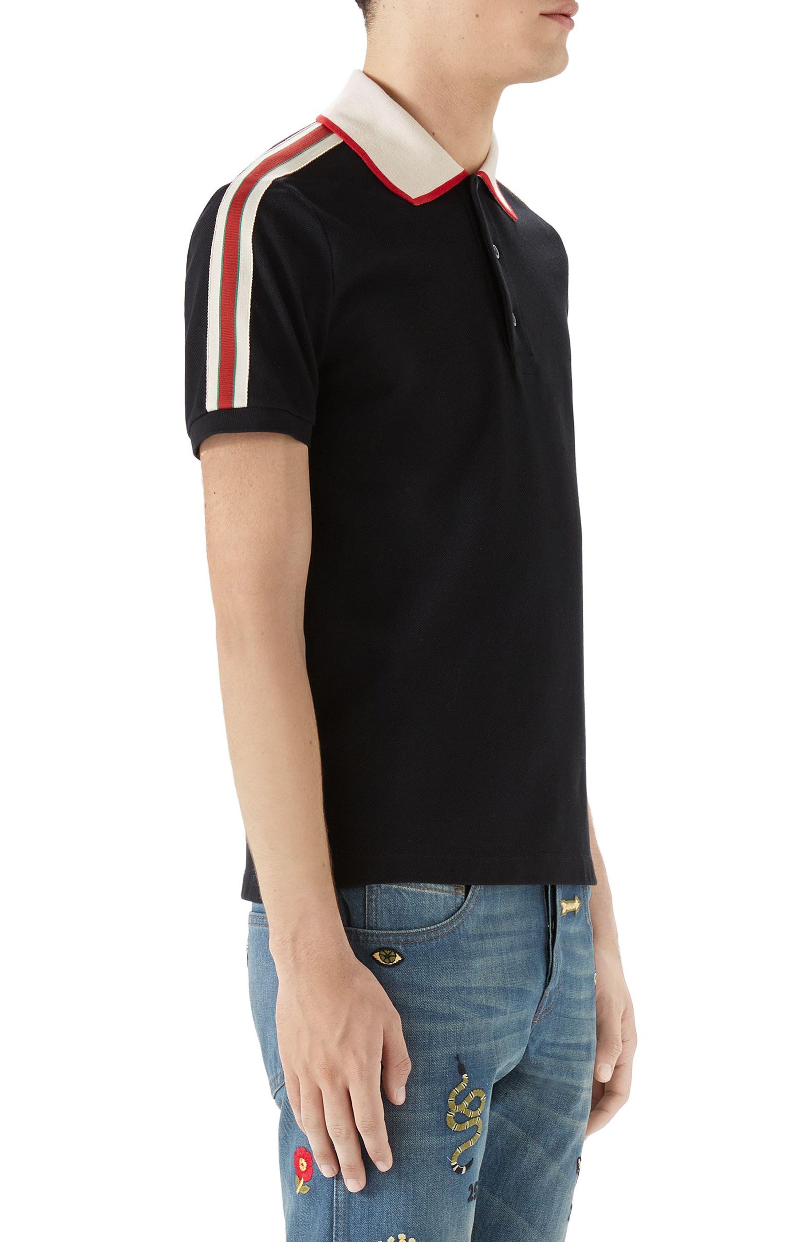 Jacquard Stripe Sleeve Piqué Polo,                             Alternate thumbnail 3, color,                             Black