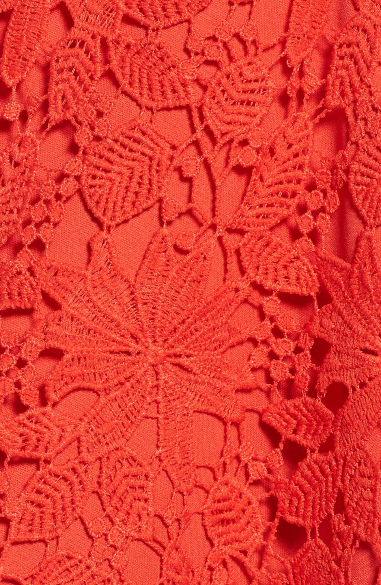 Lace Fit & Flare Dress,                             Alternate thumbnail 6, color,                             Candy Red