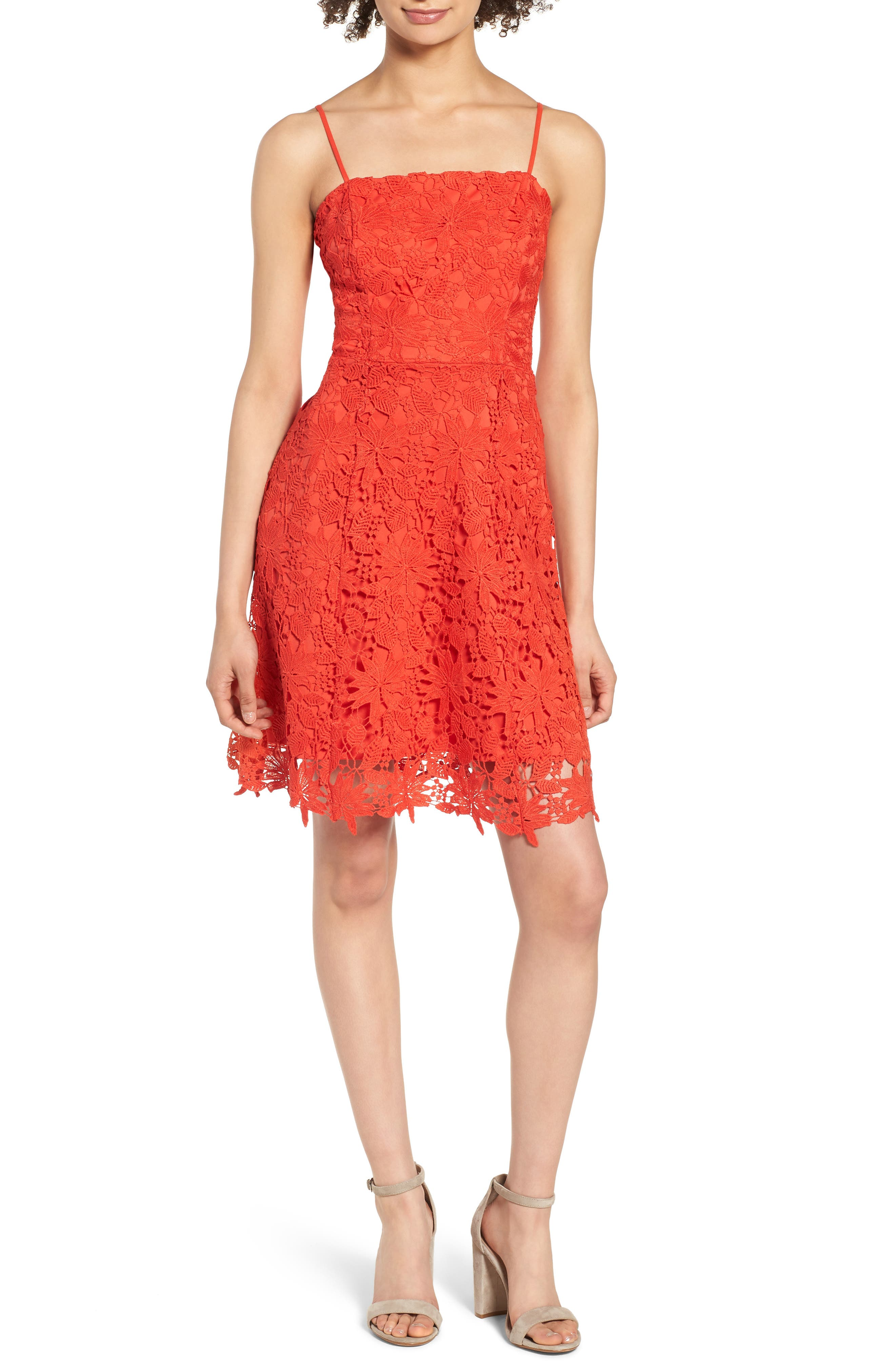 Lace Fit & Flare Dress,                         Main,                         color, Candy Red