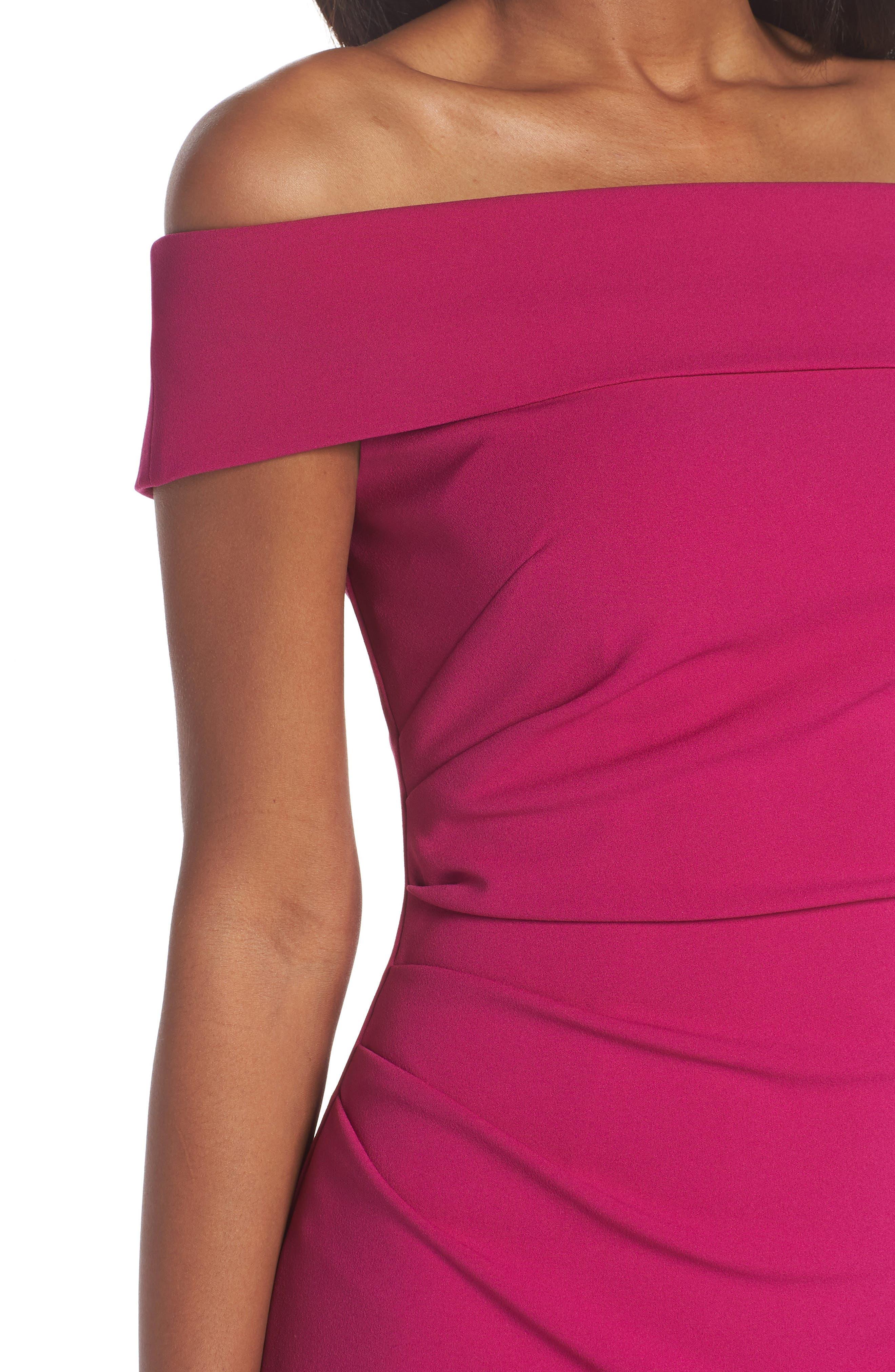 Off the Shoulder Midi Dress,                             Alternate thumbnail 4, color,                             Raspberry
