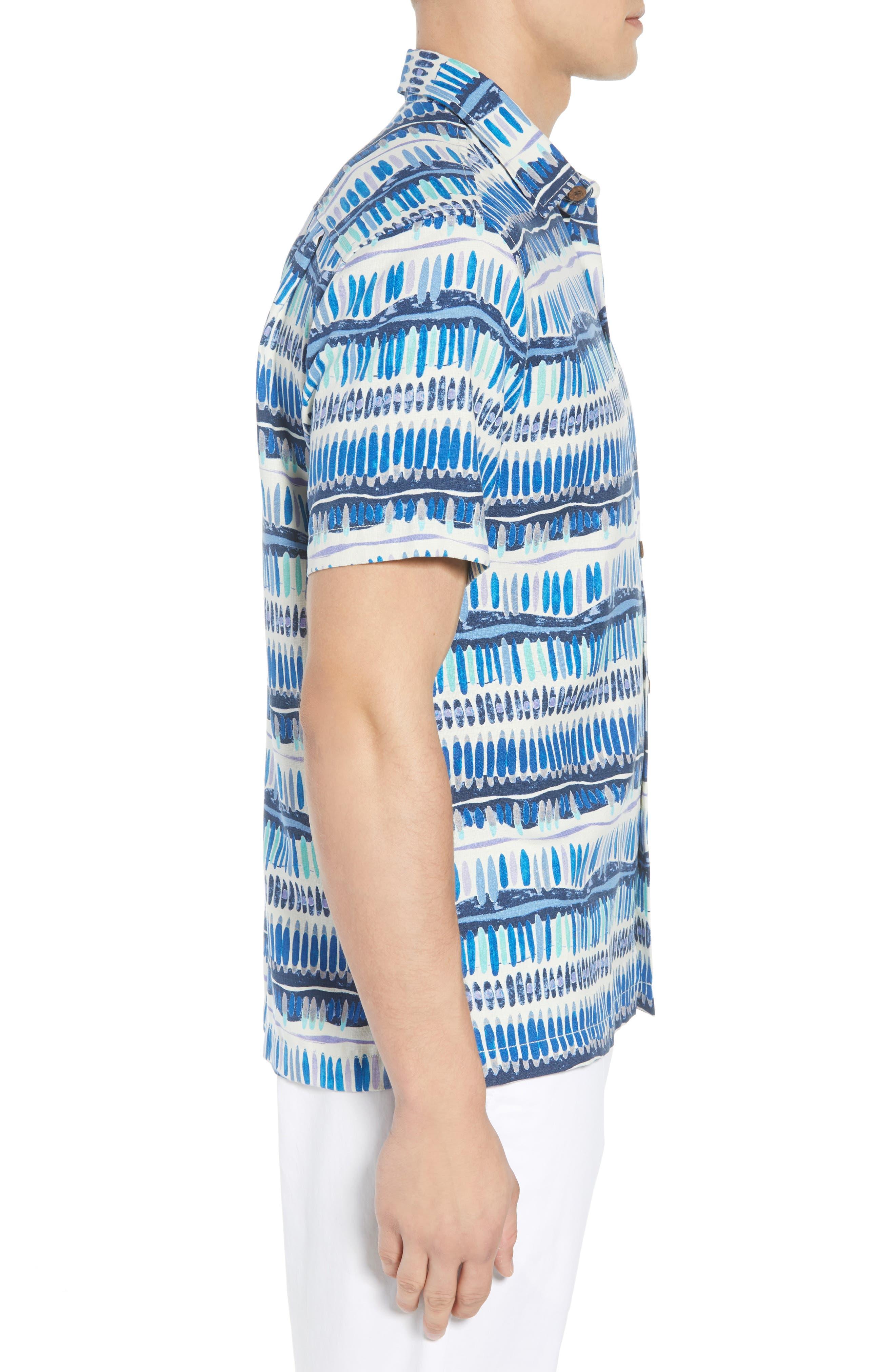 Geo Surf Silk Blend Camp Shirt,                             Alternate thumbnail 4, color,                             Old Royal