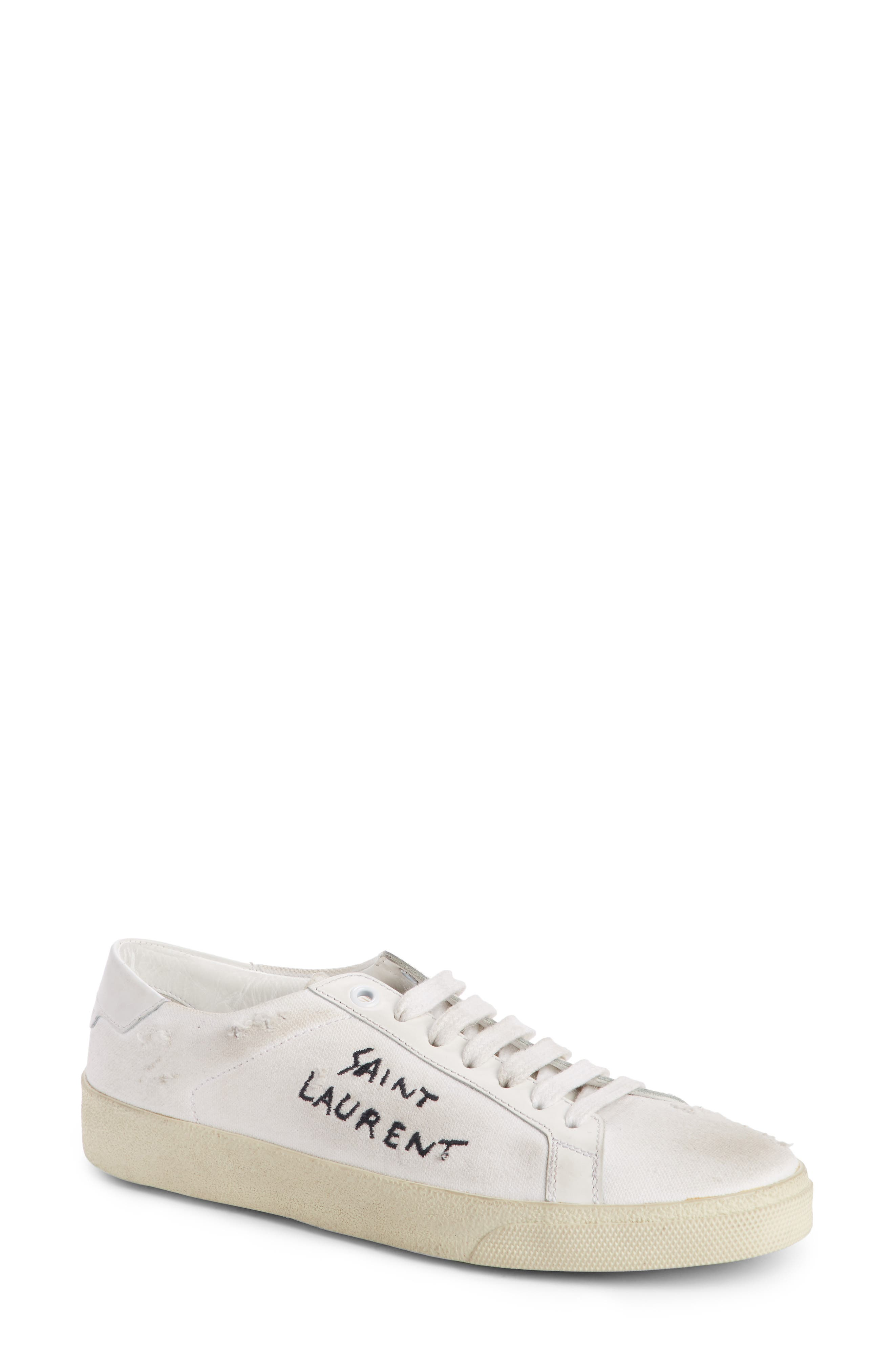 Saint Laurent Court Classic Lace-Up Sneaker (Women)