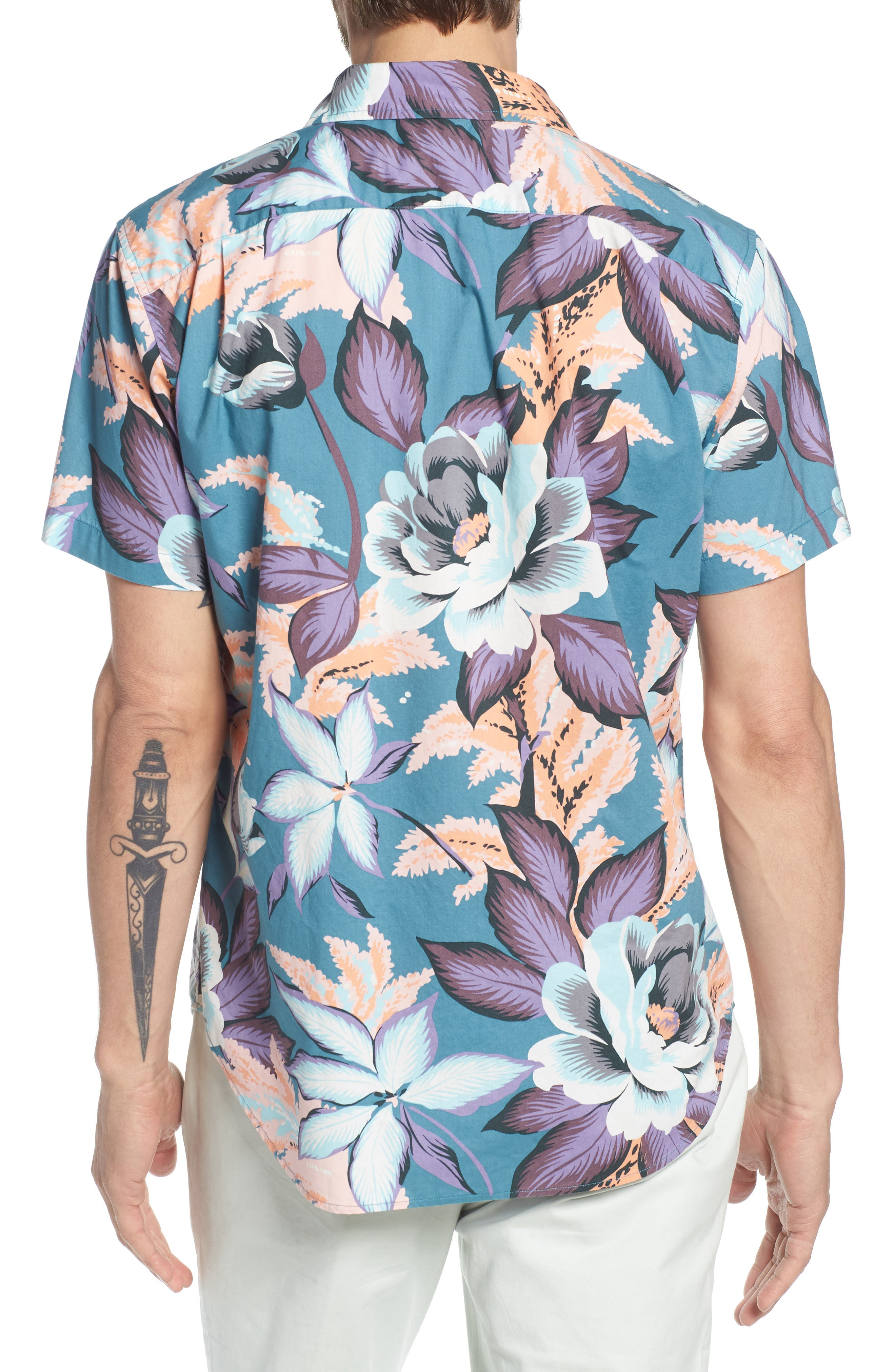 Riviera Slim Fit Floral Print Sport Shirt,                             Alternate thumbnail 3, color,                             Coral Couch Floral - Blue
