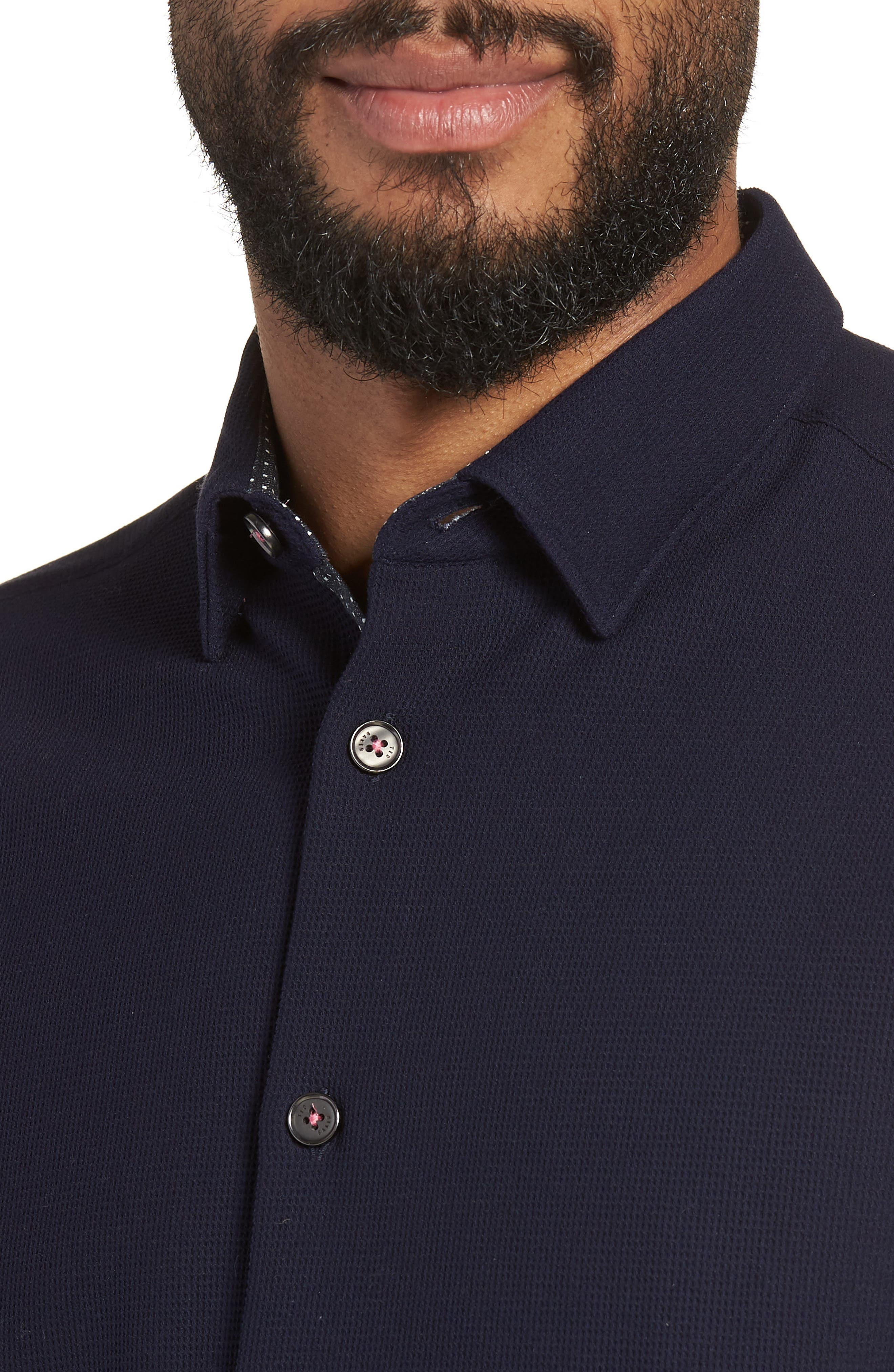 Loretax Trim Fit Stretch Knit Sport Shirt,                             Alternate thumbnail 2, color,                             Navy