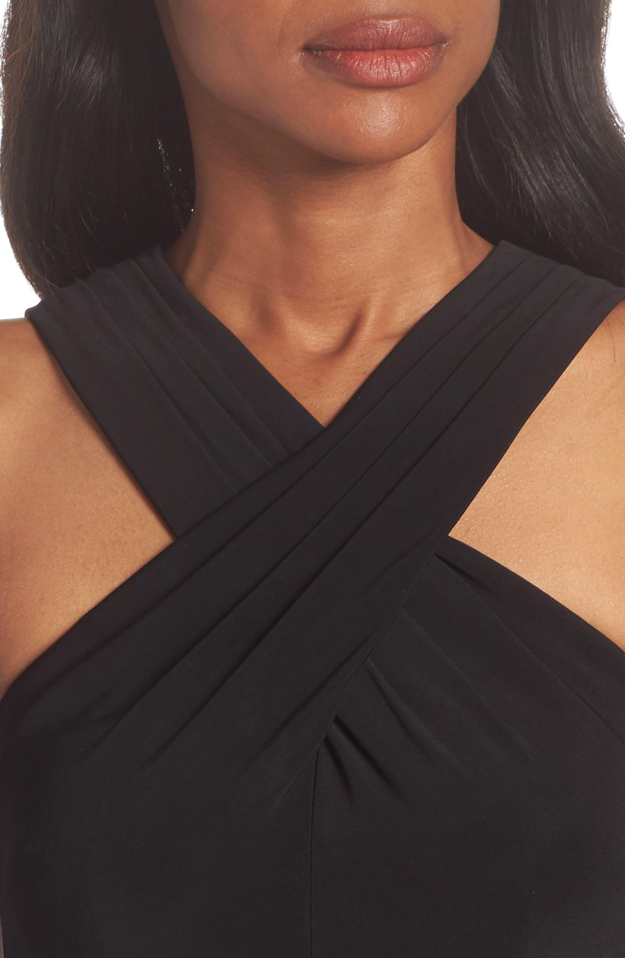 Crisscross Neck Ballgown,                             Alternate thumbnail 4, color,                             Black Multi