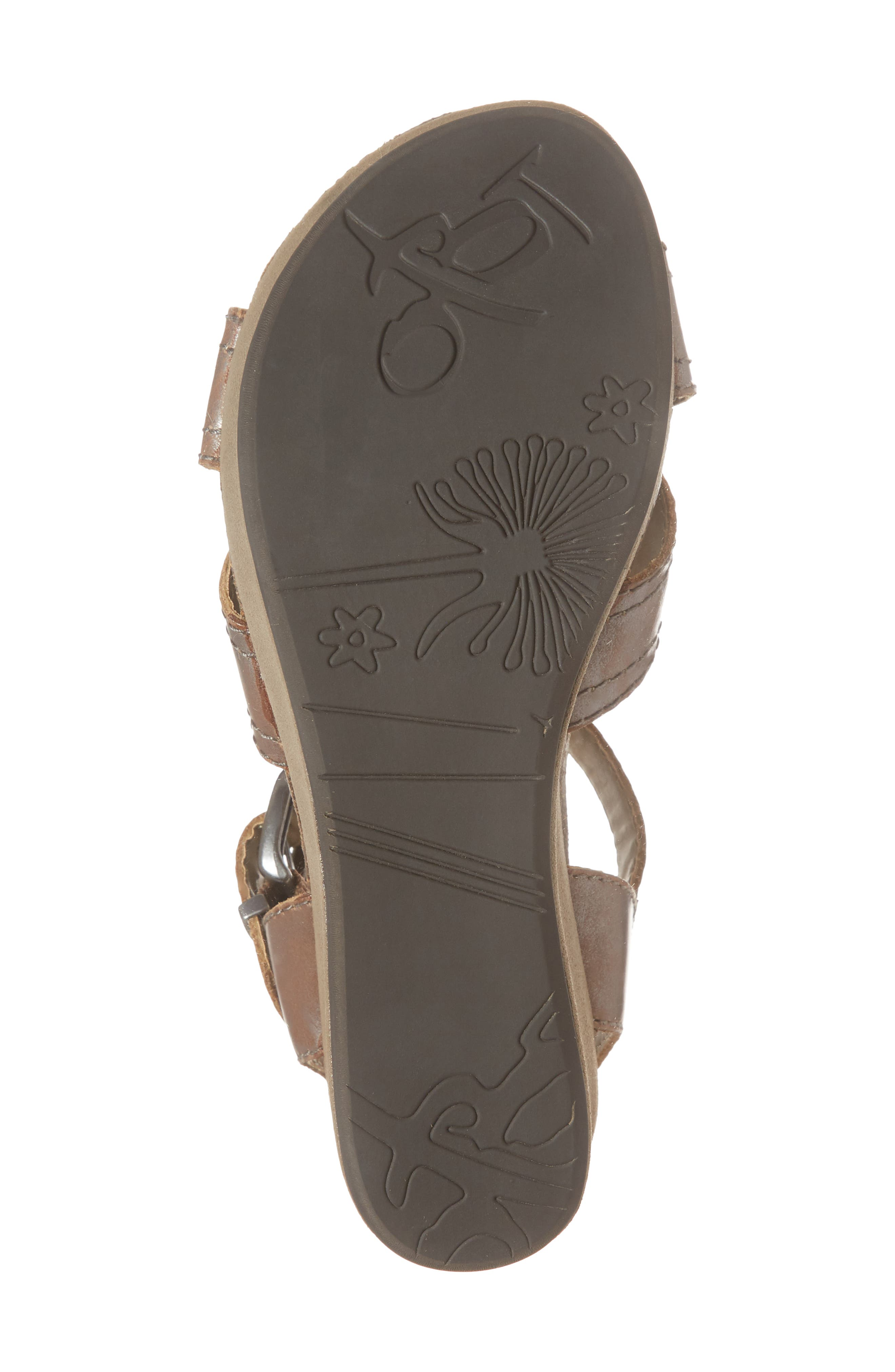 Bee Cave Wedge Sandal,                             Alternate thumbnail 6, color,                             Pewter Leather