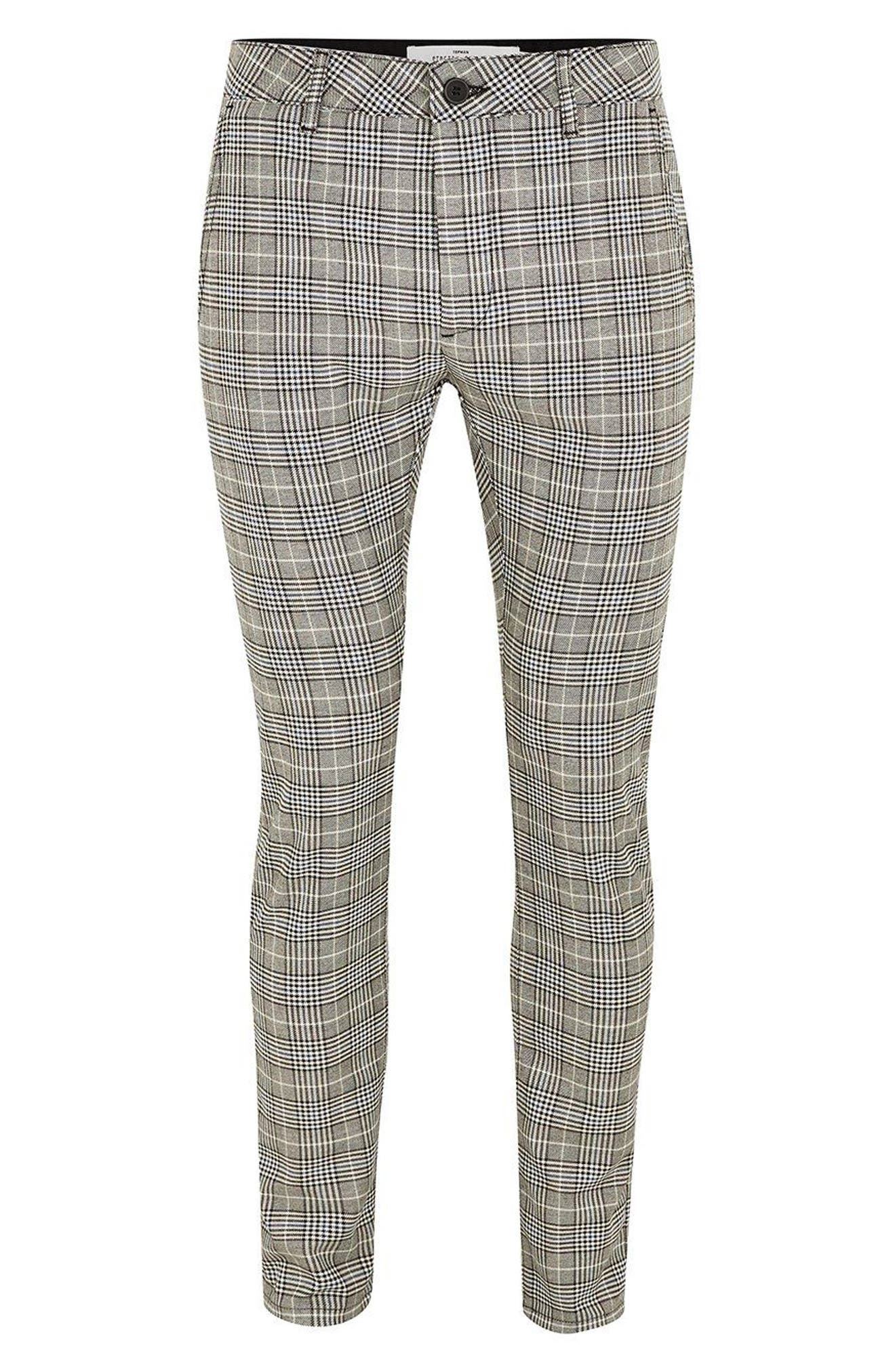 Stretch Skinny Fit Check Chinos,                             Alternate thumbnail 4, color,                             Grey Multi